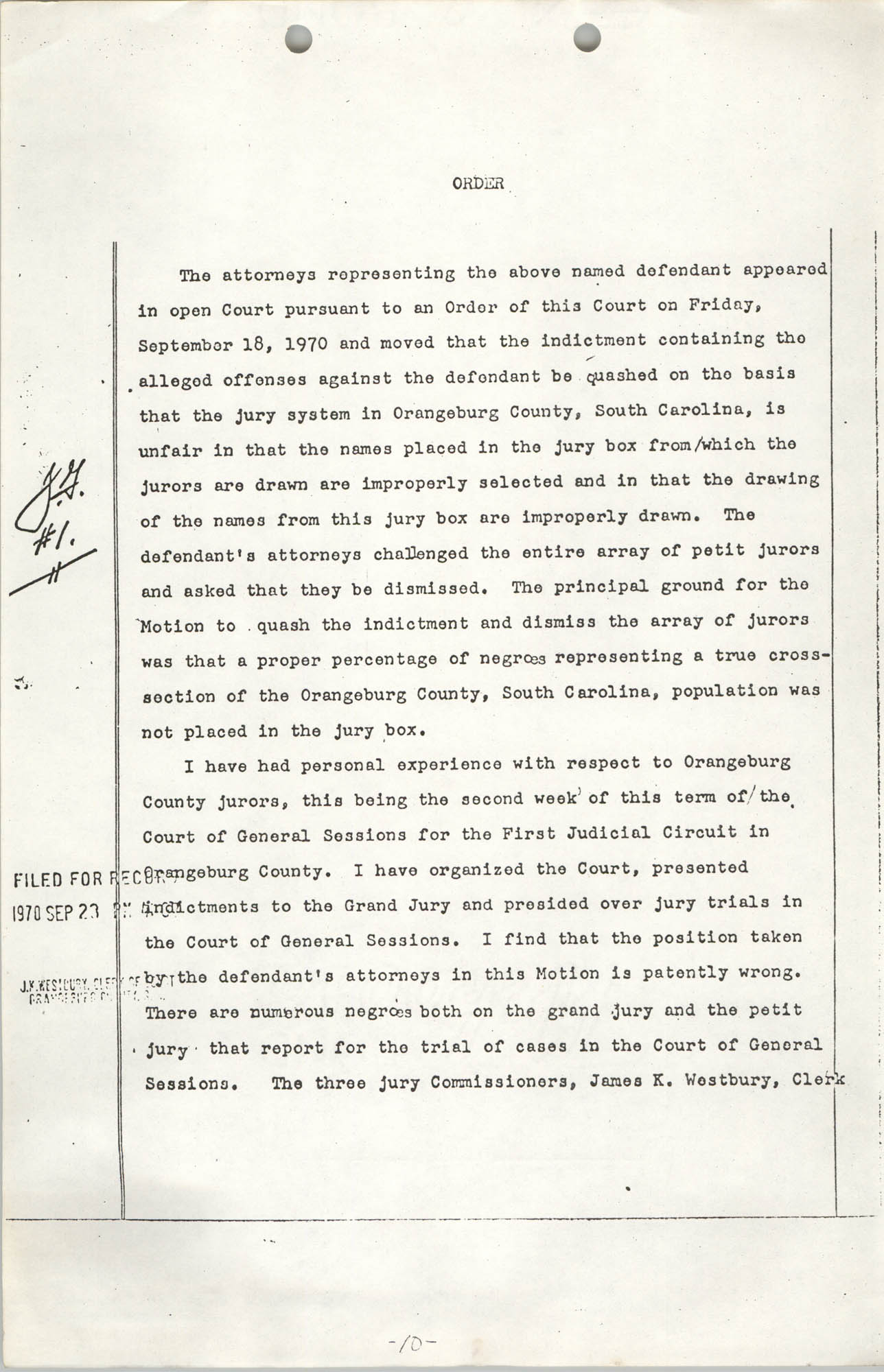 Appeal from Orangeburg County, The State against Cleveland Louis Sellers, Jr., Volume I, Page 10