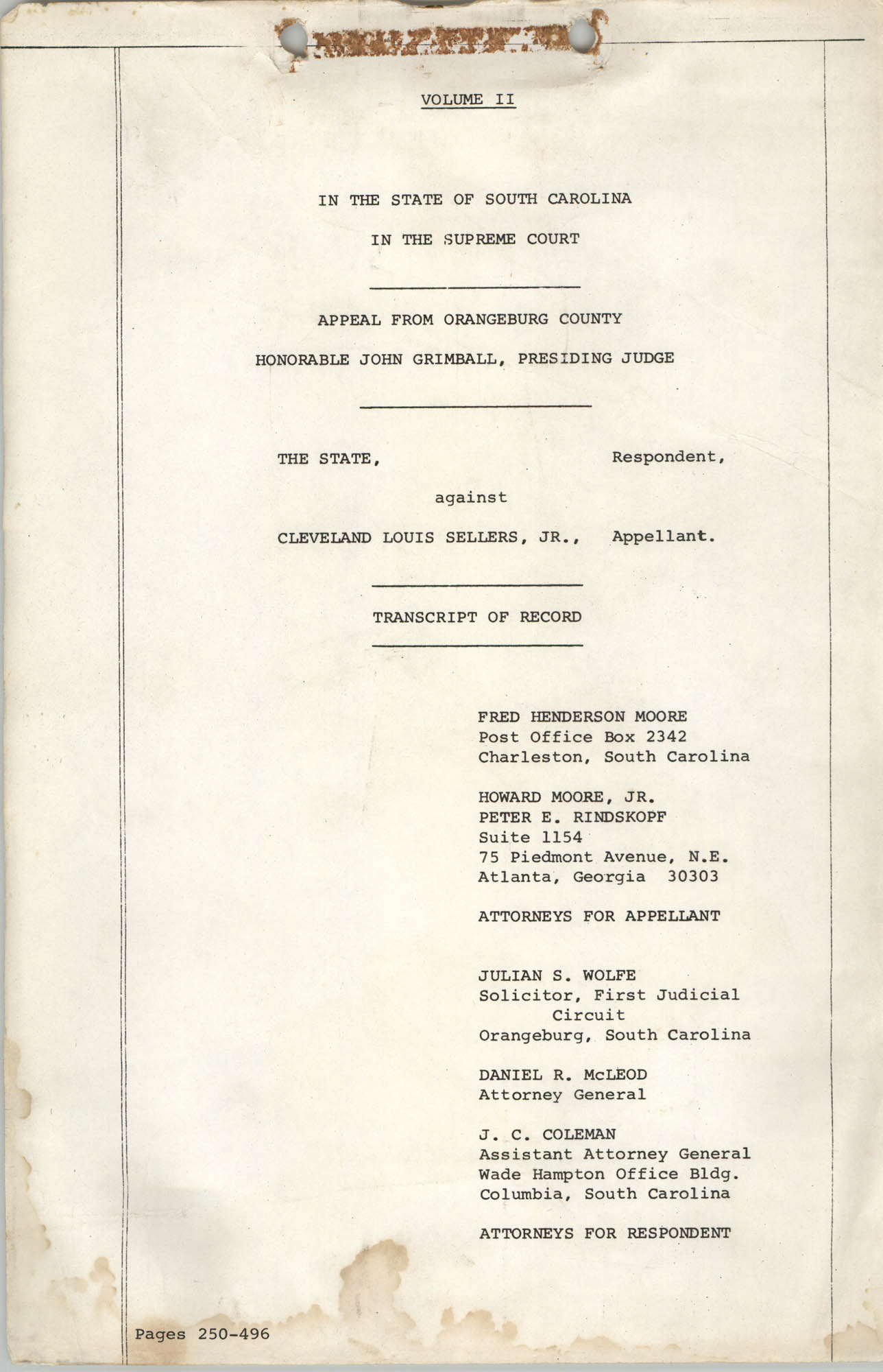Appeal from Orangeburg County, The State against Cleveland Louis Sellers, Jr., Volume II, Cover