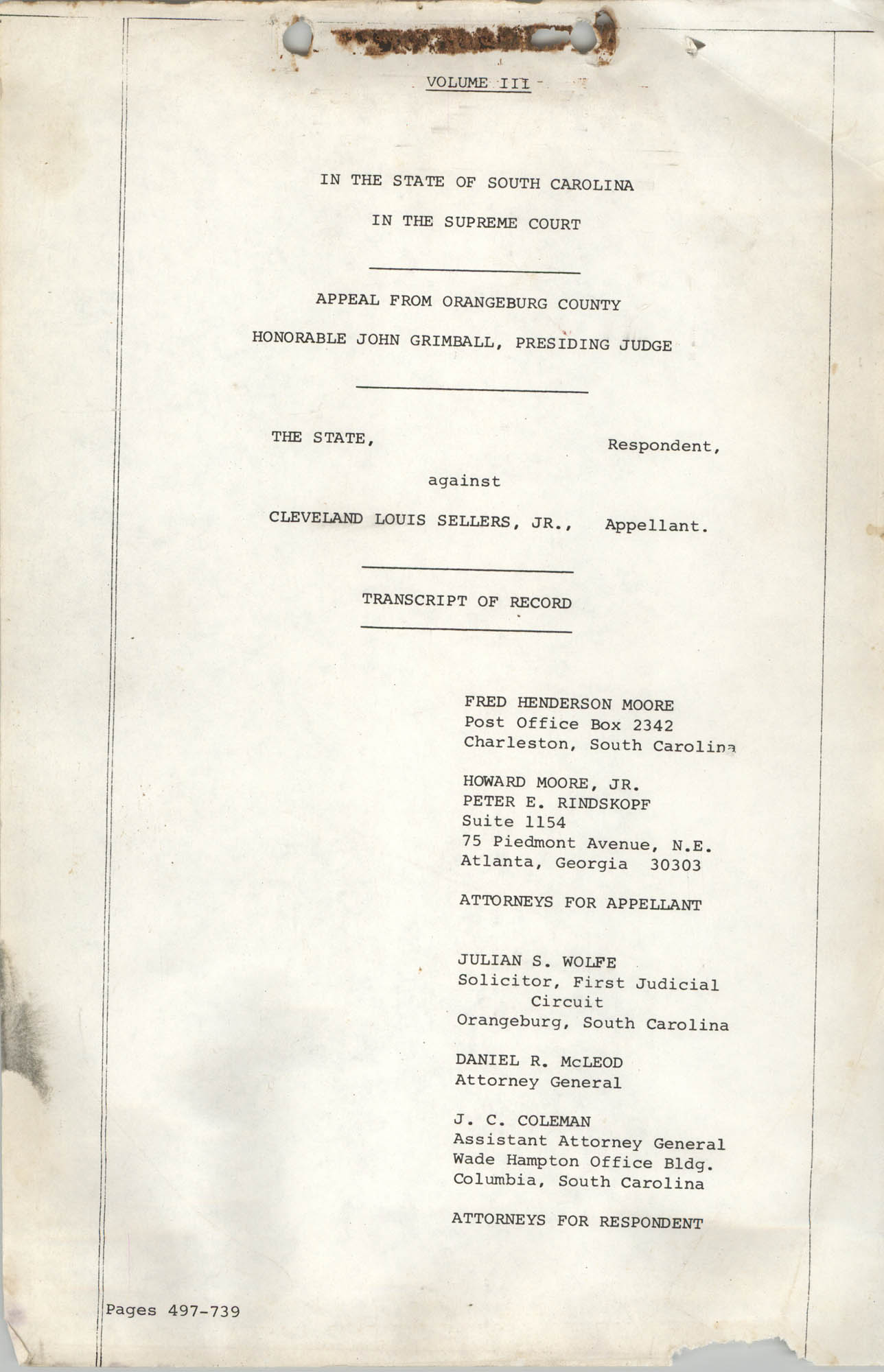 Appeal from Orangeburg County, The State against Cleveland Louis Sellers, Jr., Volume III, Cover