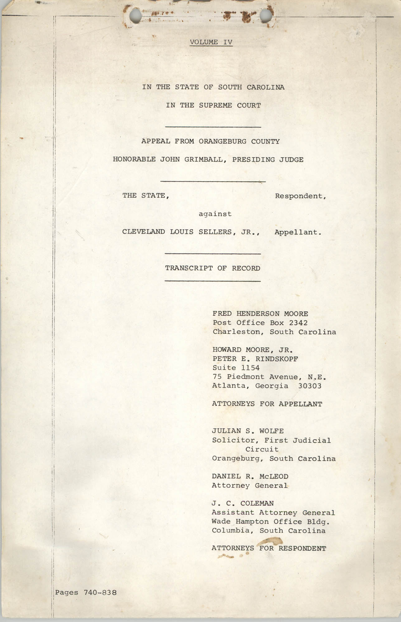 Appeal from Orangeburg County, The State against Cleveland Louis Sellers, Jr., Volume IV, Cover