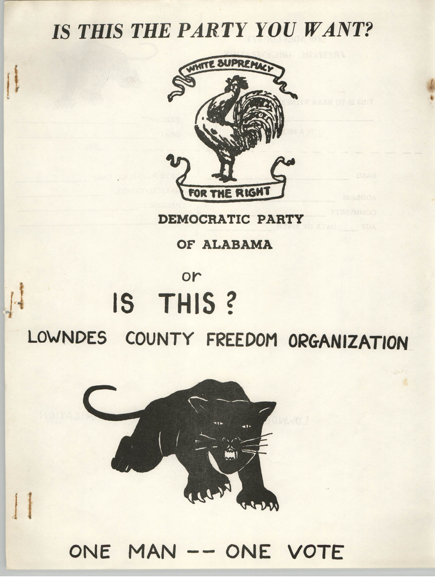 Lowndes County Freedom Organization Voting Pamphlet, Page 1