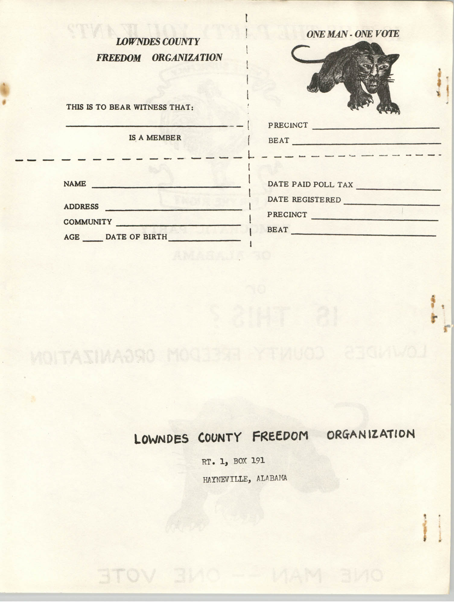 Lowndes County Freedom Organization Voting Pamphlet, Page 2