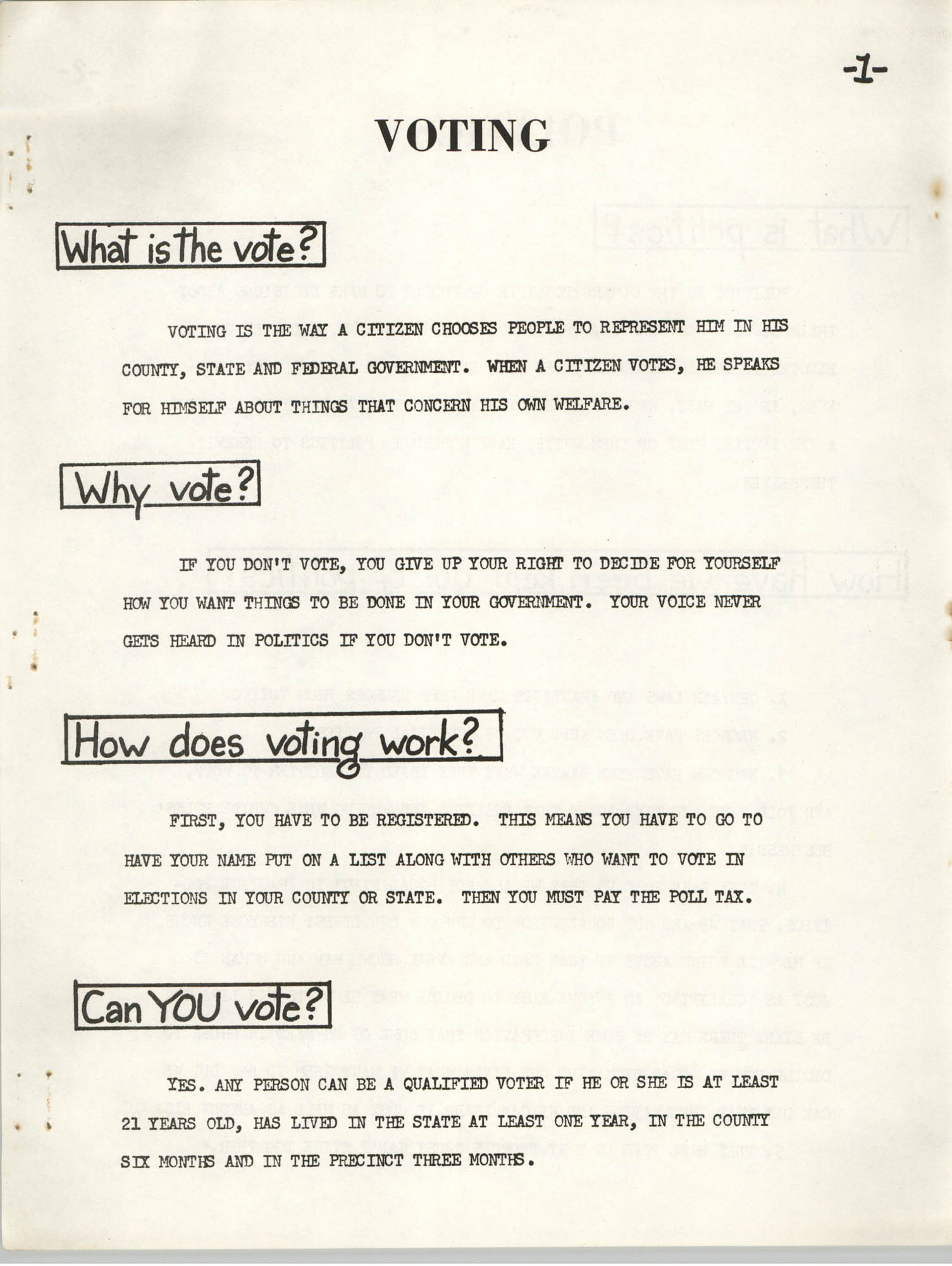 Lowndes County Freedom Organization Voting Pamphlet, Page 3