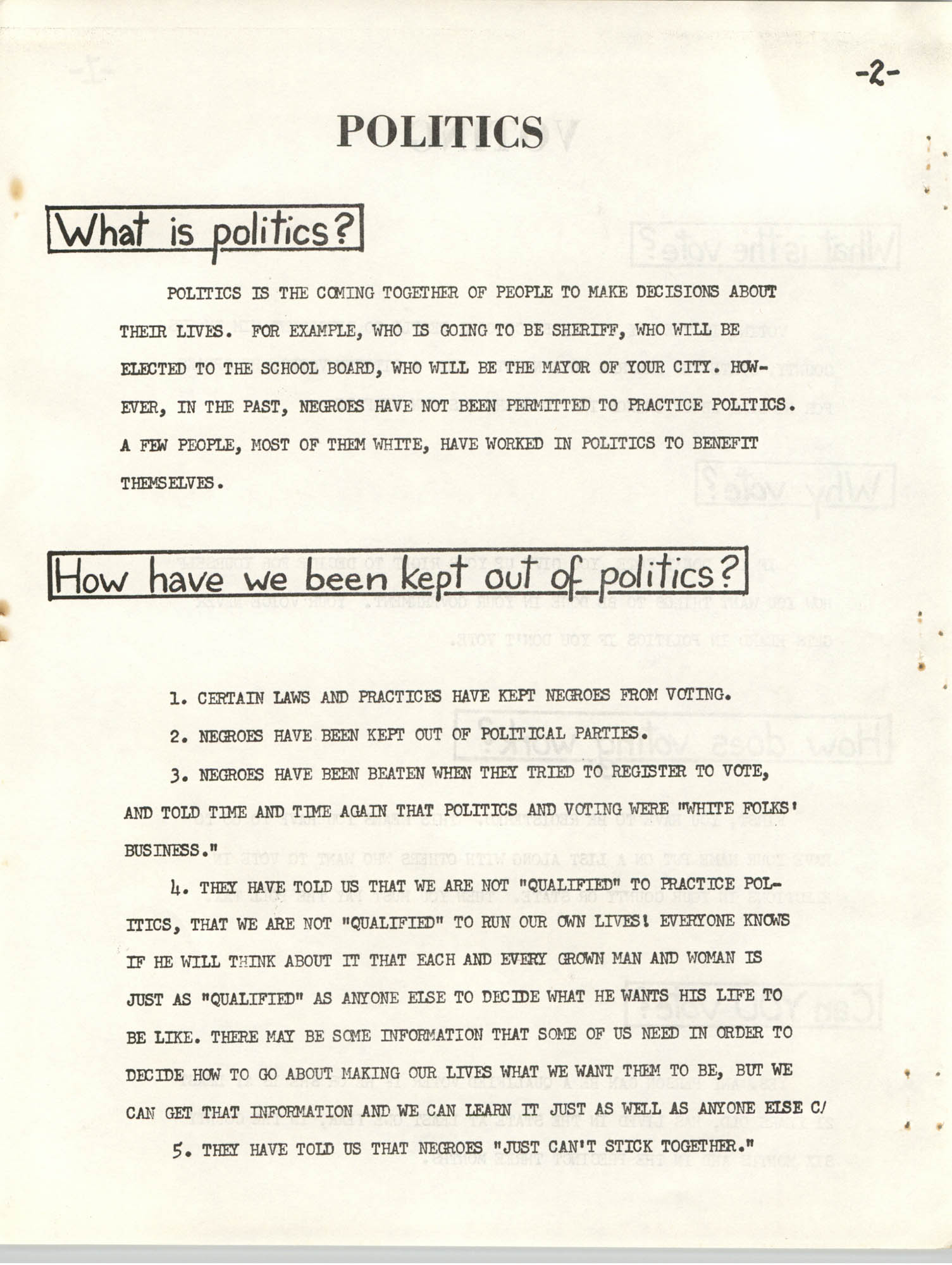 Lowndes County Freedom Organization Voting Pamphlet, Page 4