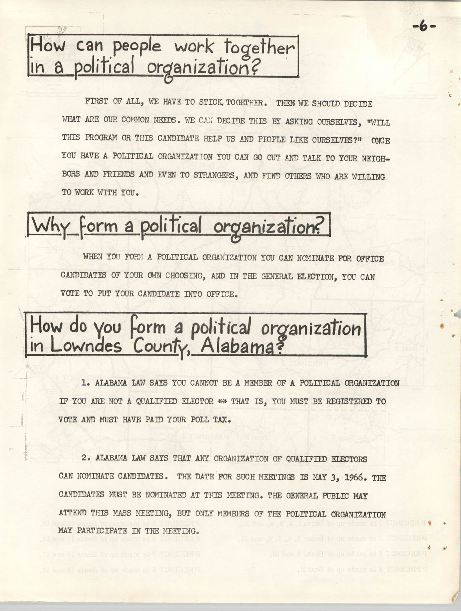 Lowndes County Freedom Organization Voting Pamphlet, Page 8