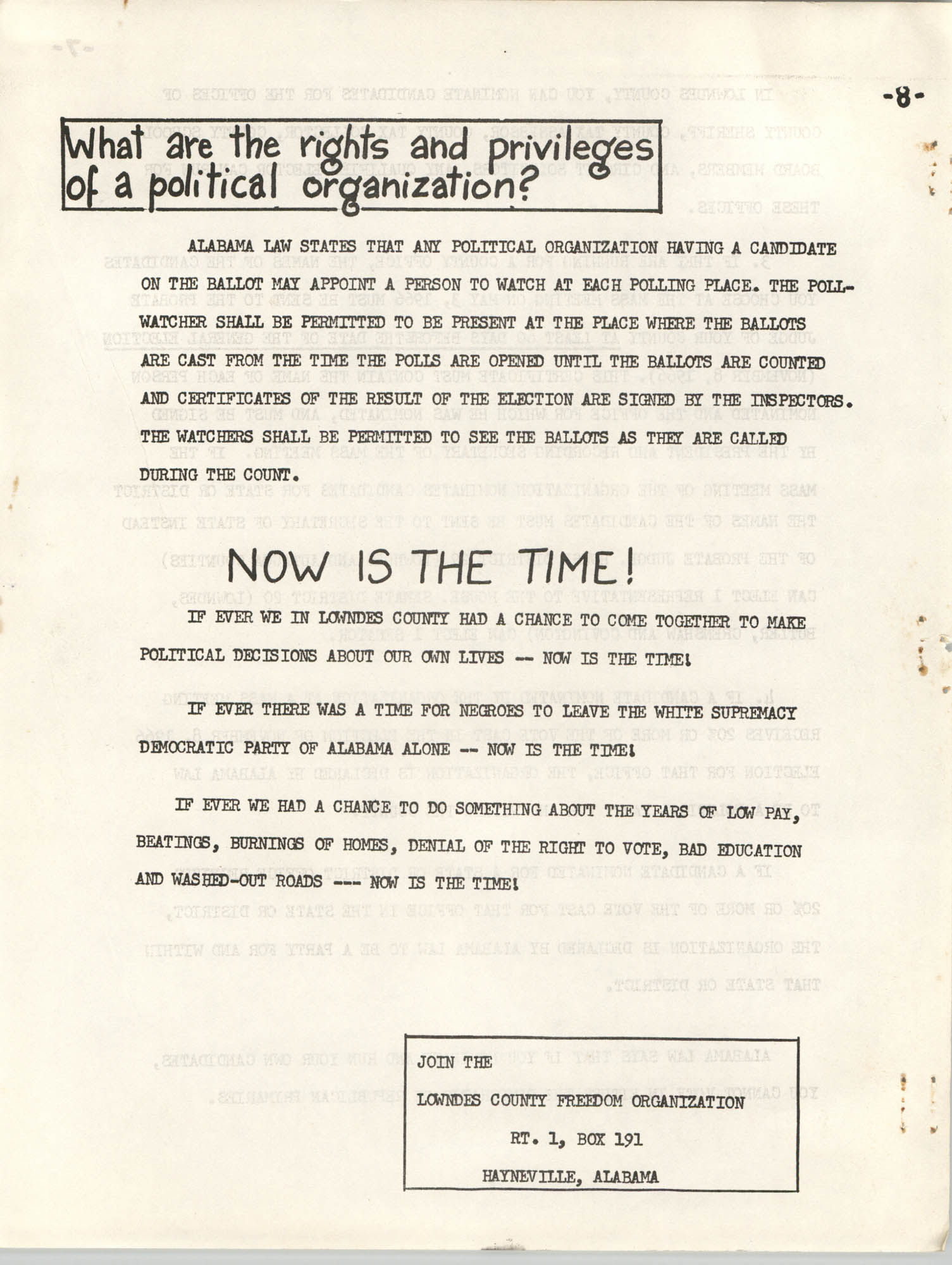 Lowndes County Freedom Organization Voting Pamphlet, Page 10
