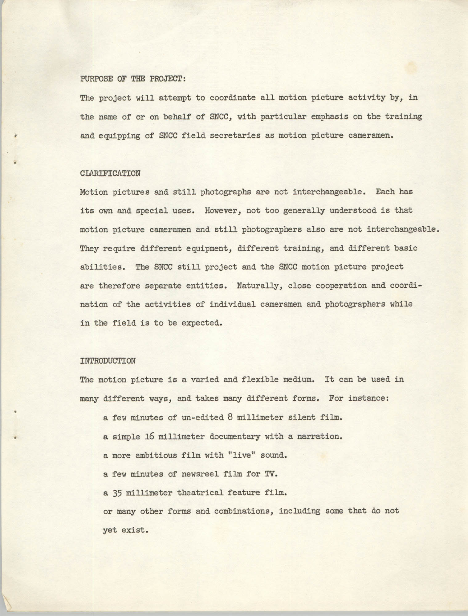 The SNCC Motion Picture Project: A Progress Report and Program Outline, Page 1