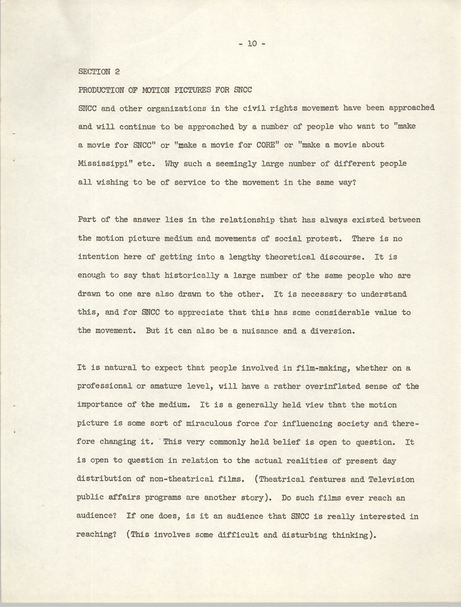 The SNCC Motion Picture Project: A Progress Report and Program Outline, Page 10