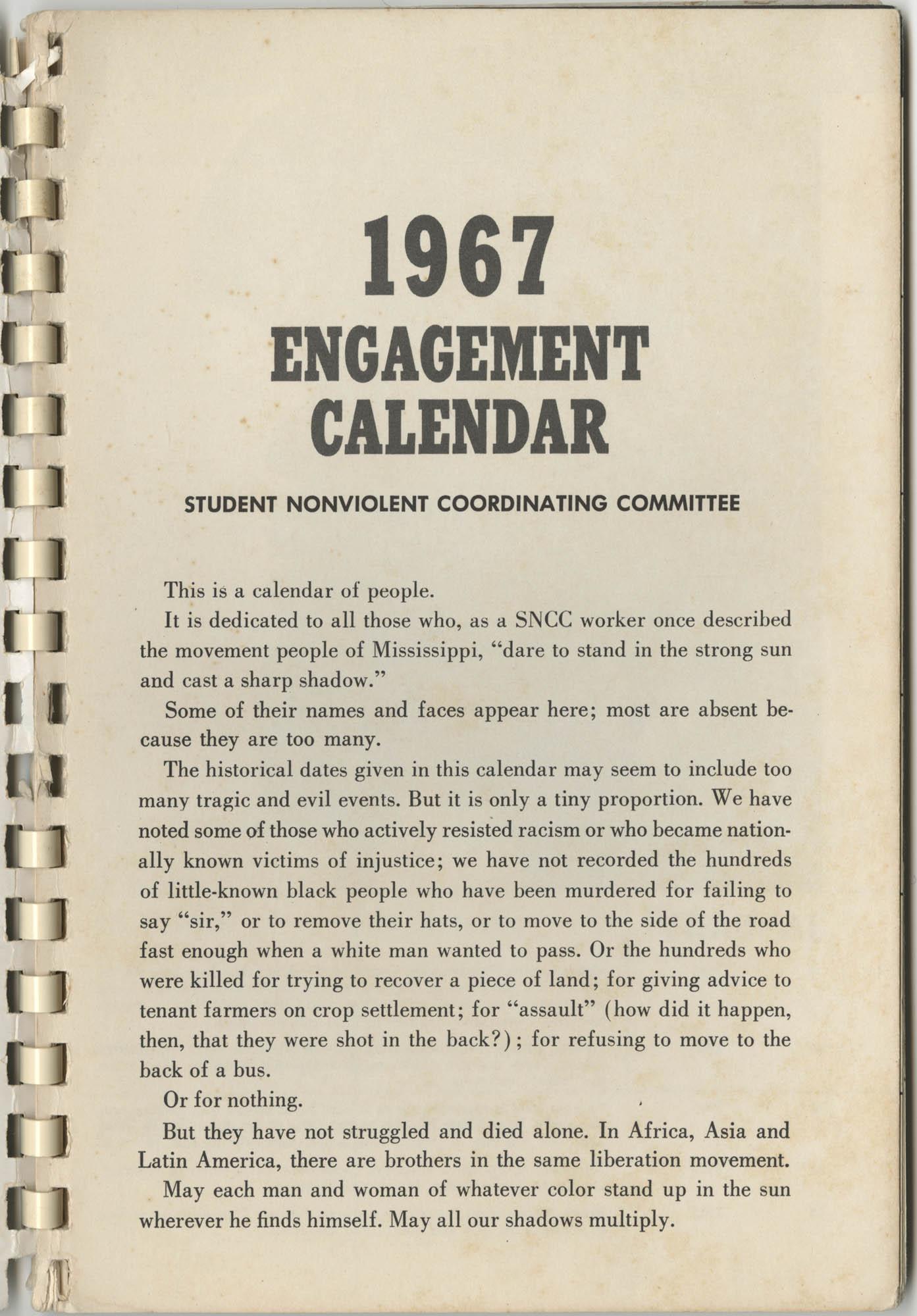 1967 SNCC Calendar, Introduction