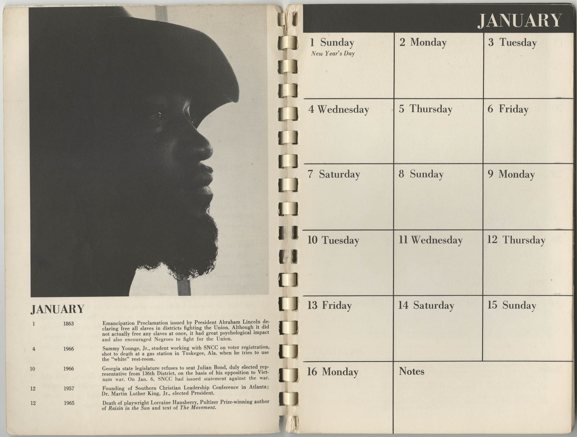 1967 SNCC Calendar, January 1-16