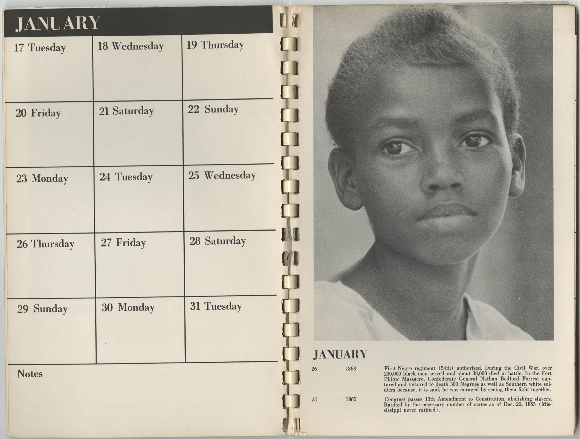 1967 SNCC Calendar, January 17-31