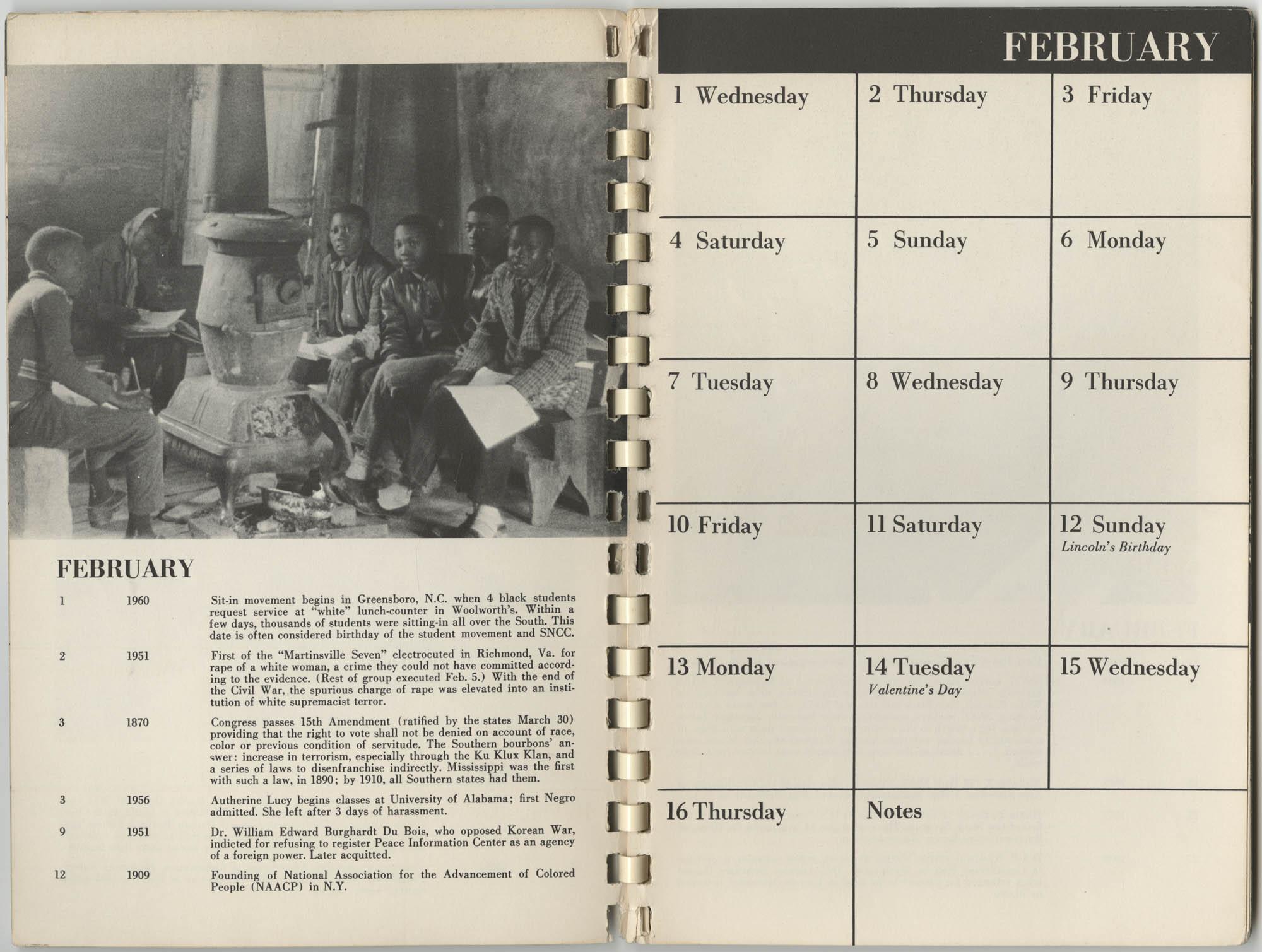 1967 SNCC Calendar, February 1-16