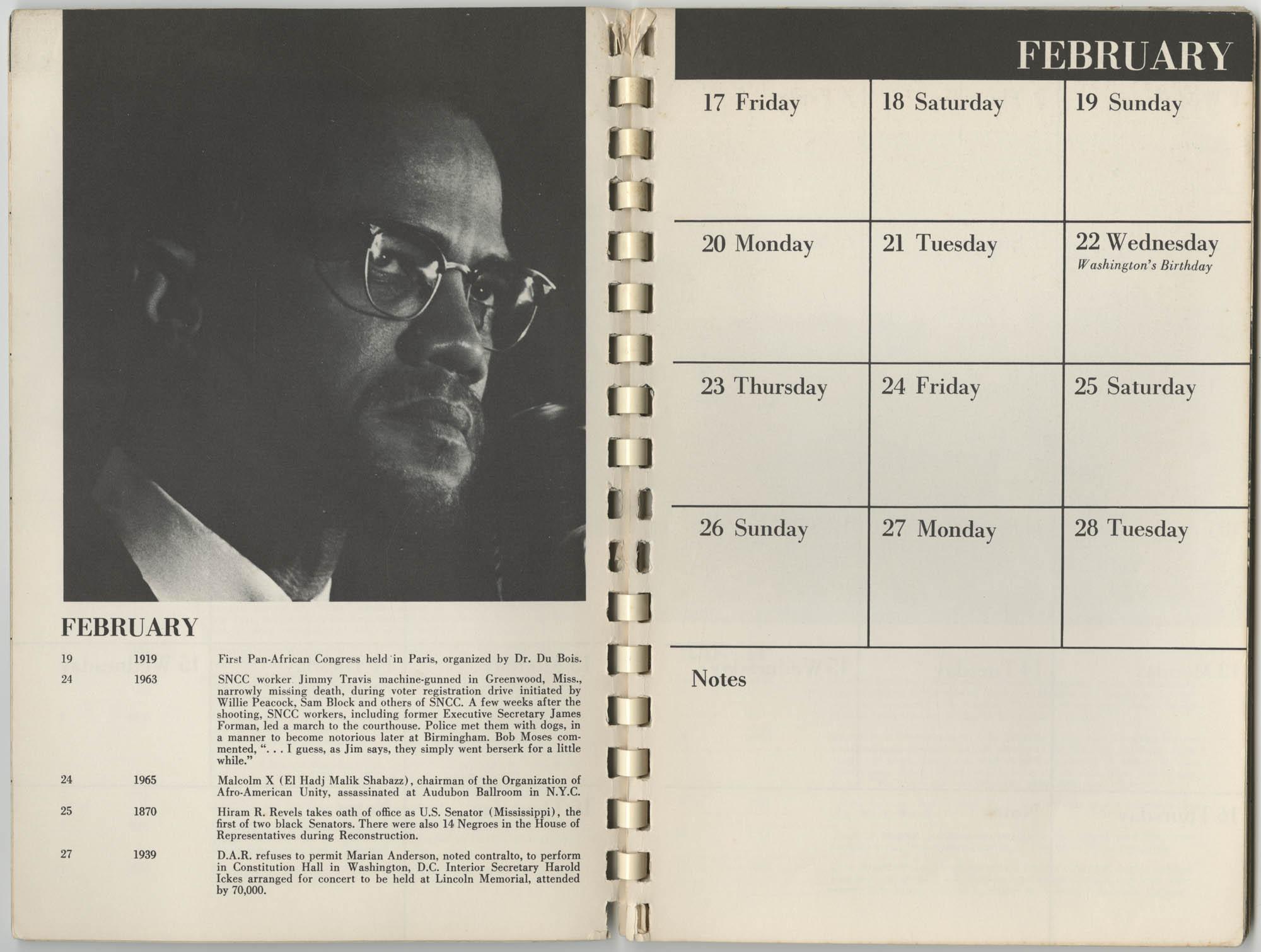1967 SNCC Calendar, February 17-28