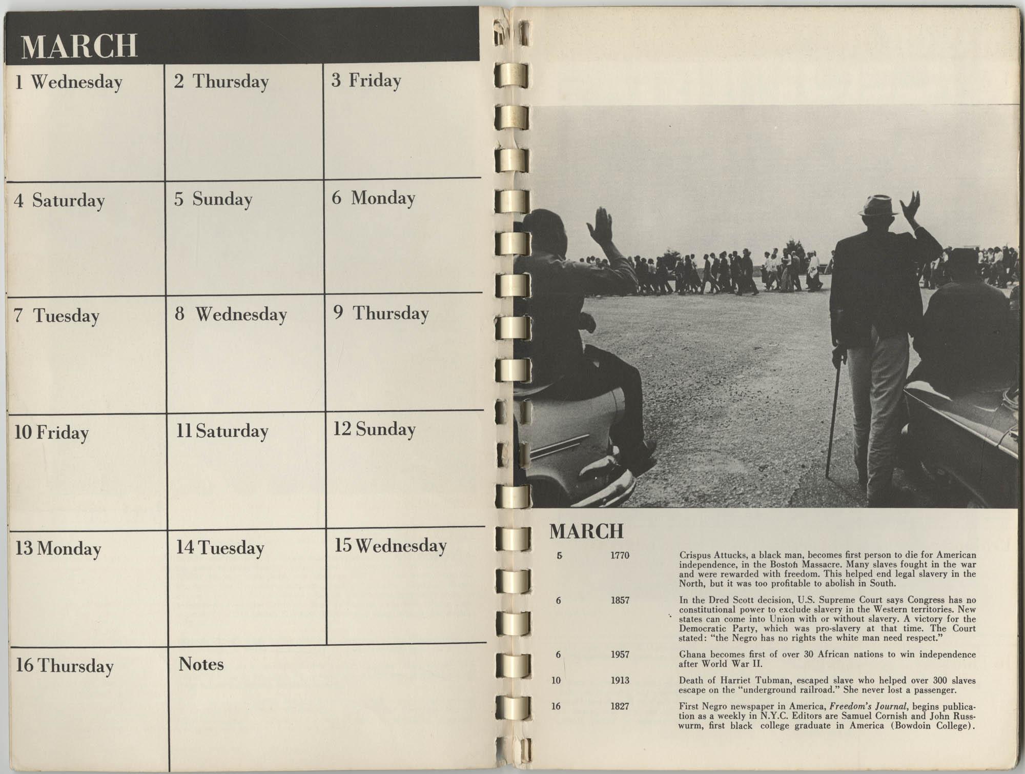 1967 SNCC Calendar, March 1-16