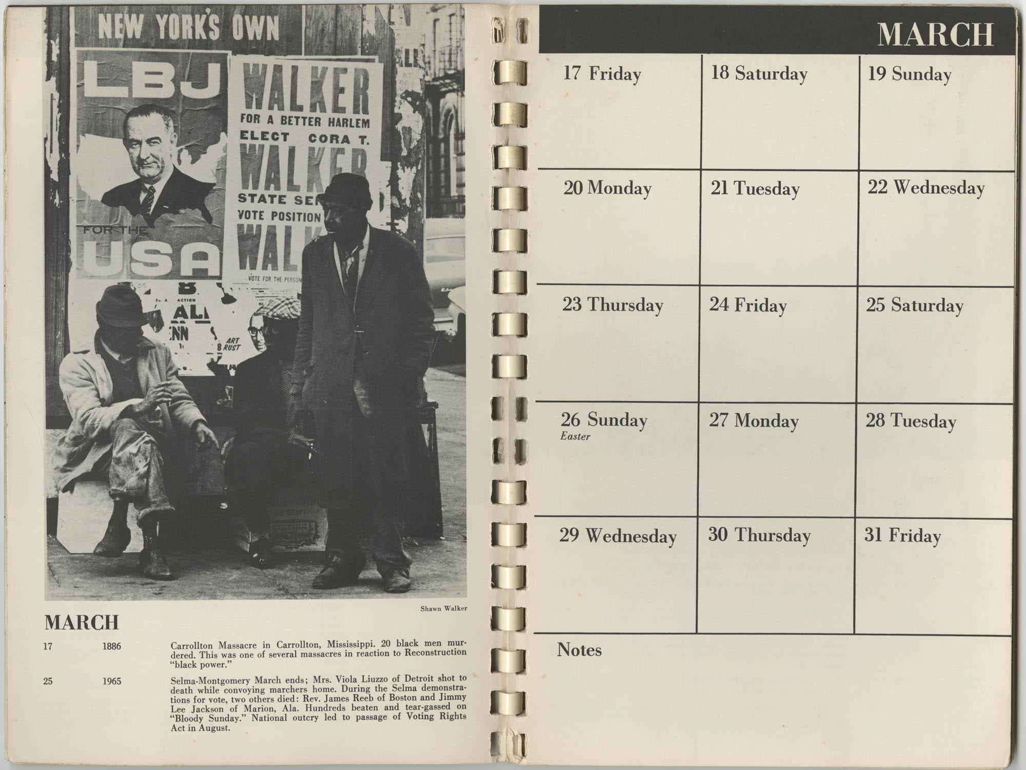 1967 SNCC Calendar, March 17-31