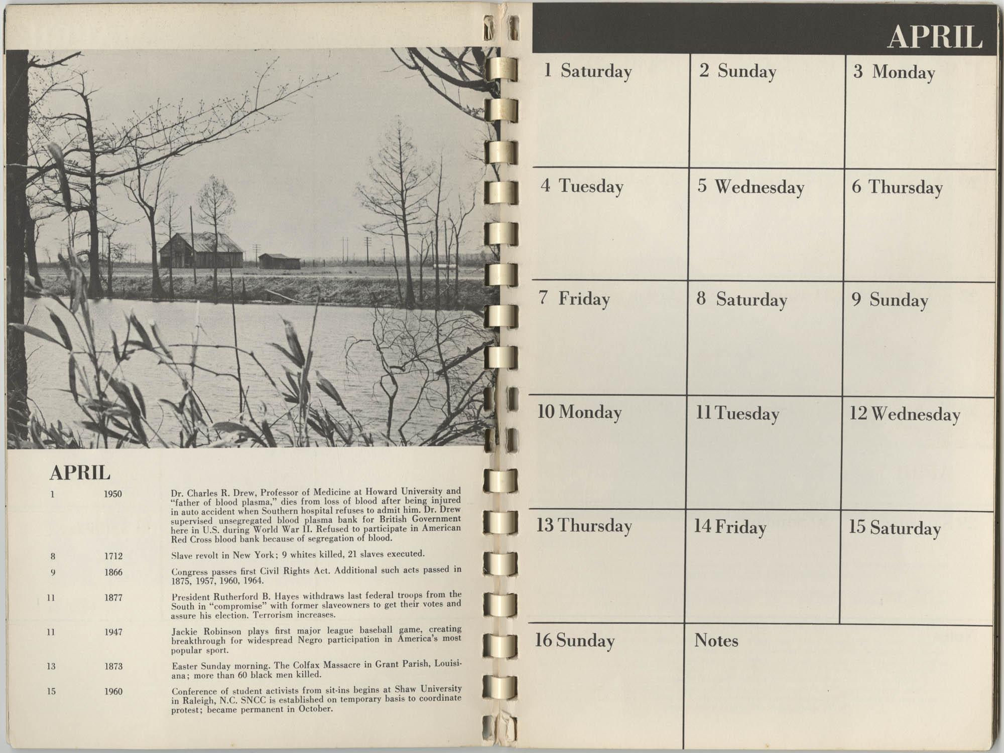 1967 SNCC Calendar, April 1-16