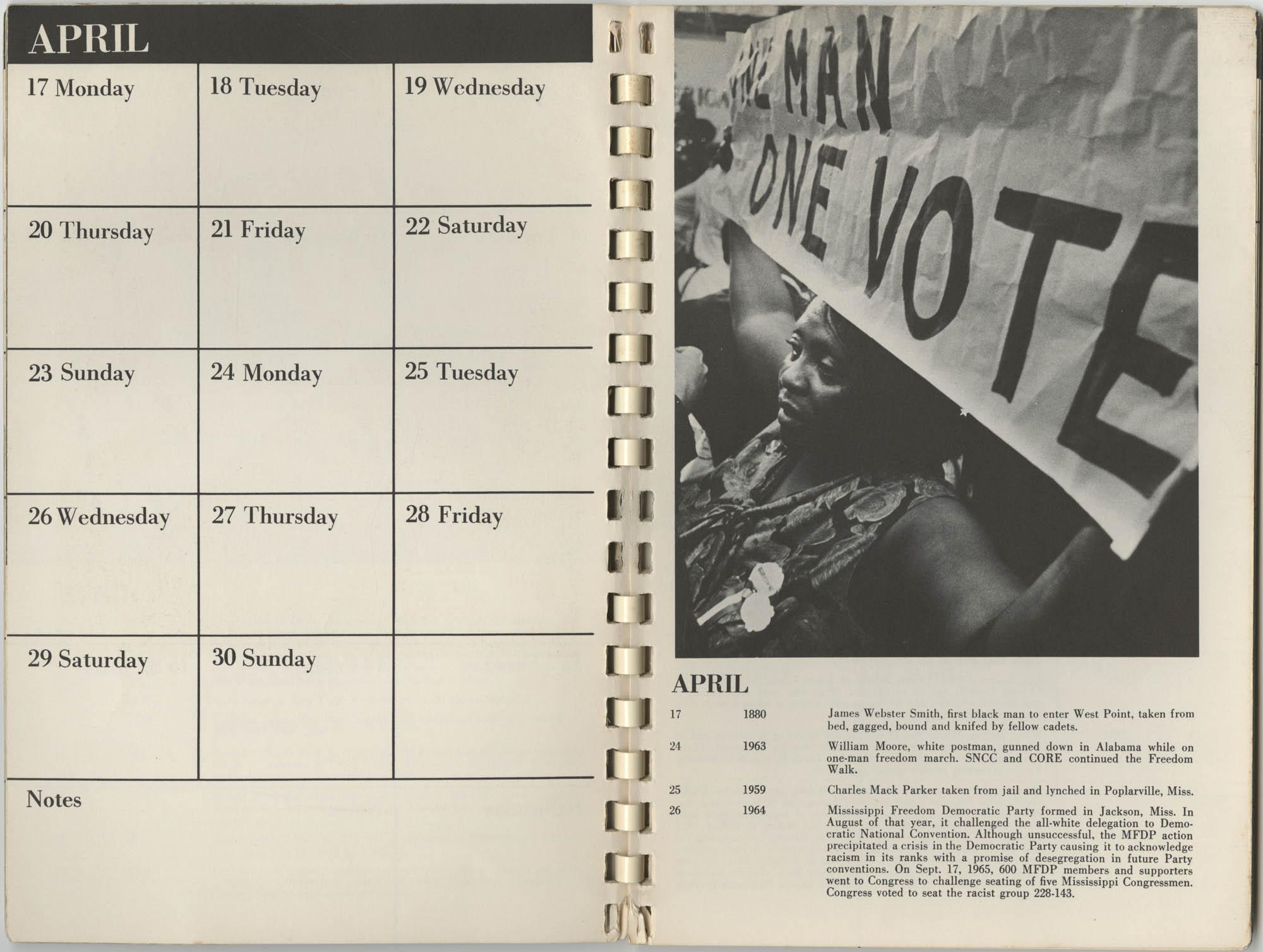 1967 SNCC Calendar, April 17-30