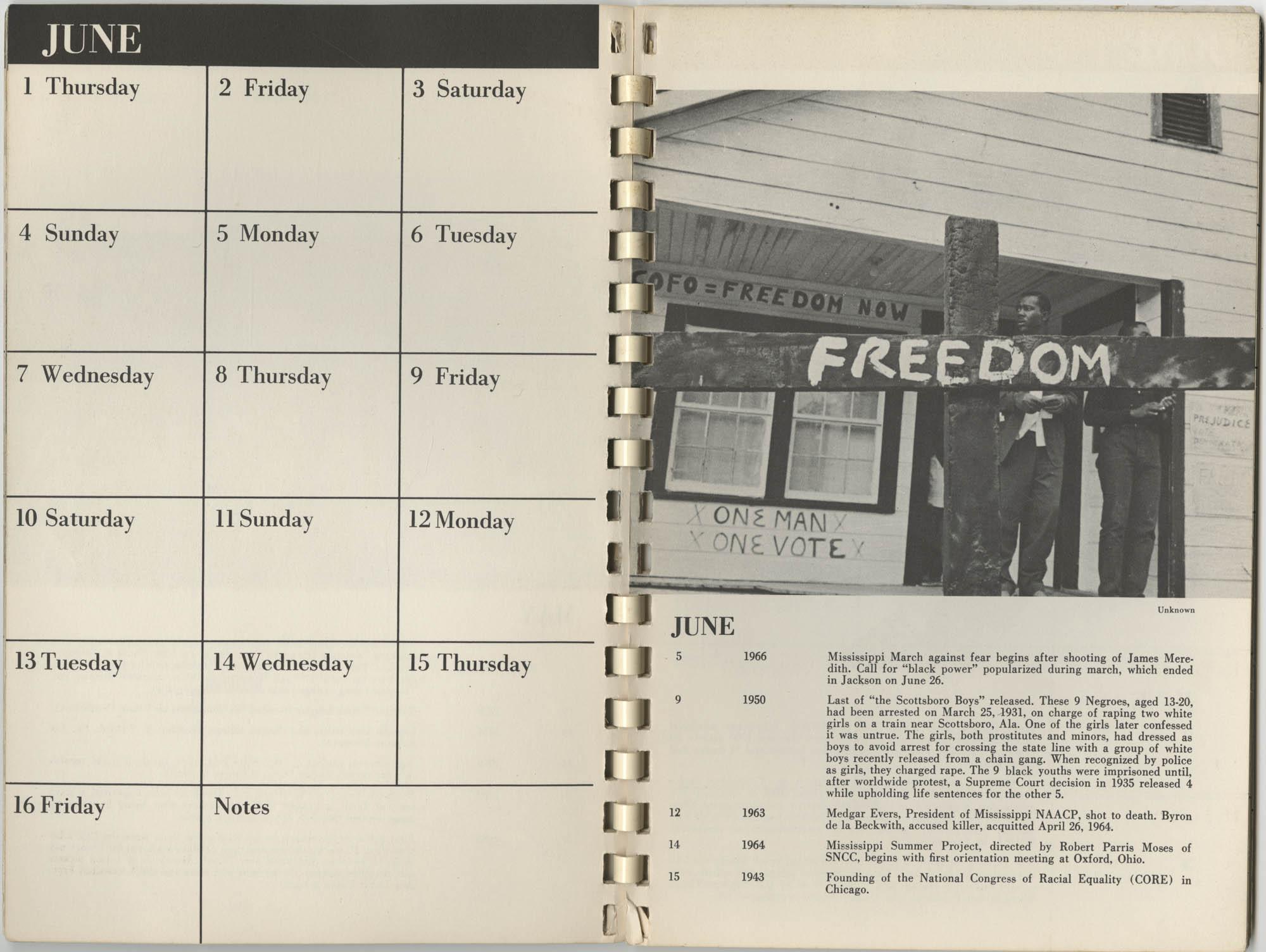 1967 SNCC Calendar, June 1-16