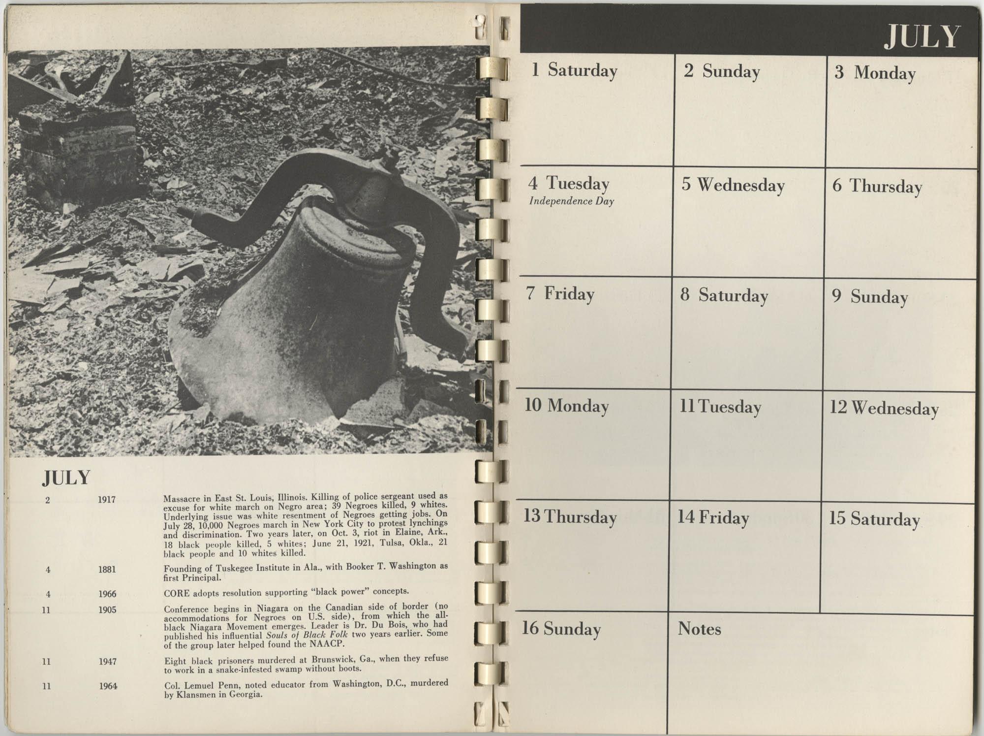 1967 SNCC Calendar, July 1-16