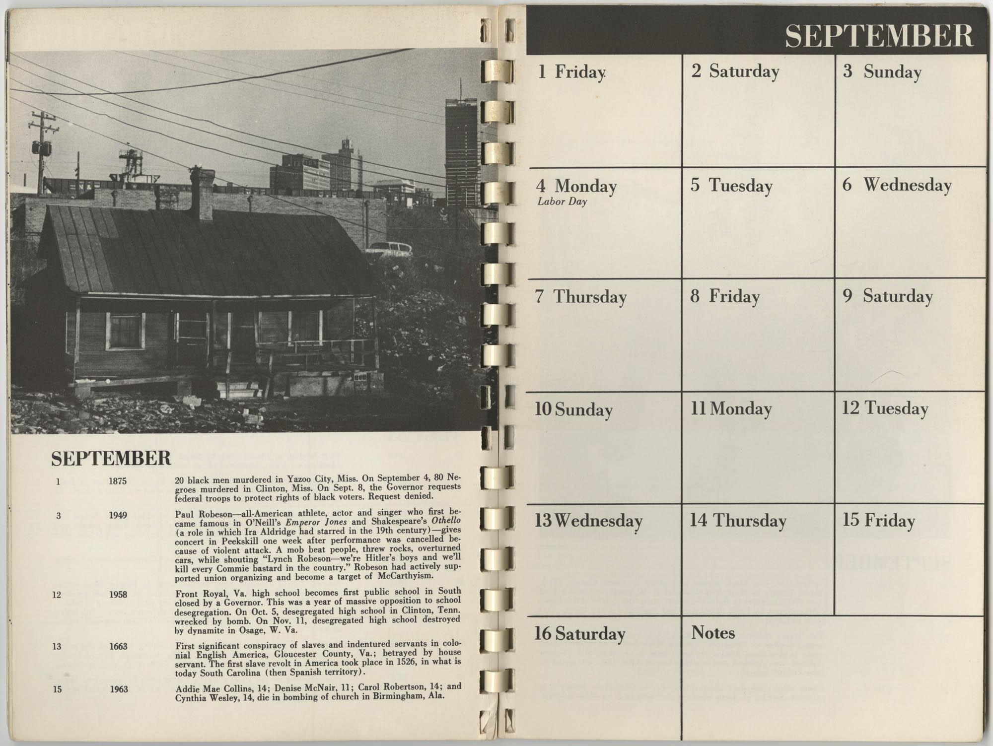 1967 SNCC Calendar, September 1-16