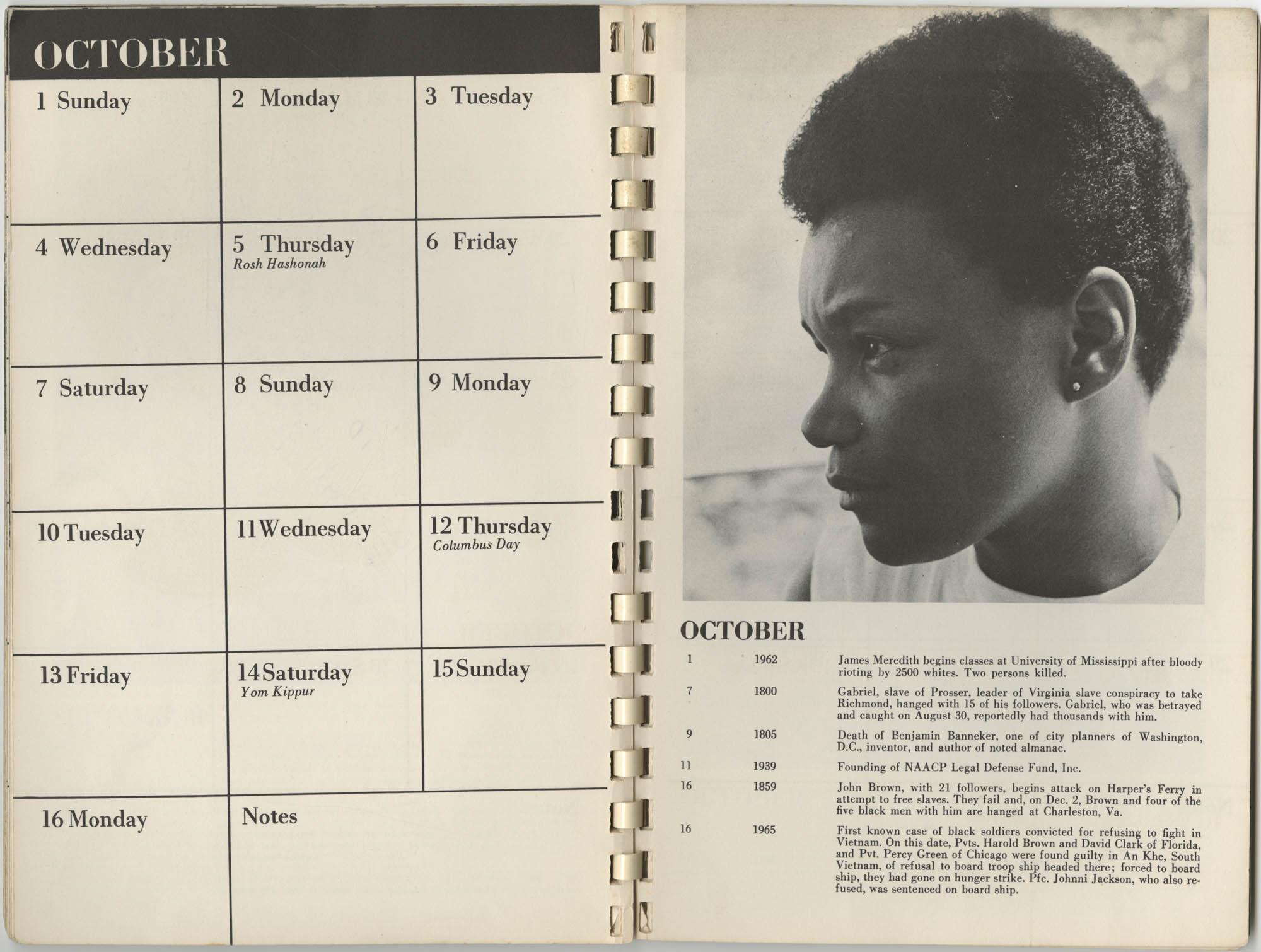 1967 SNCC Calendar, October 1-16