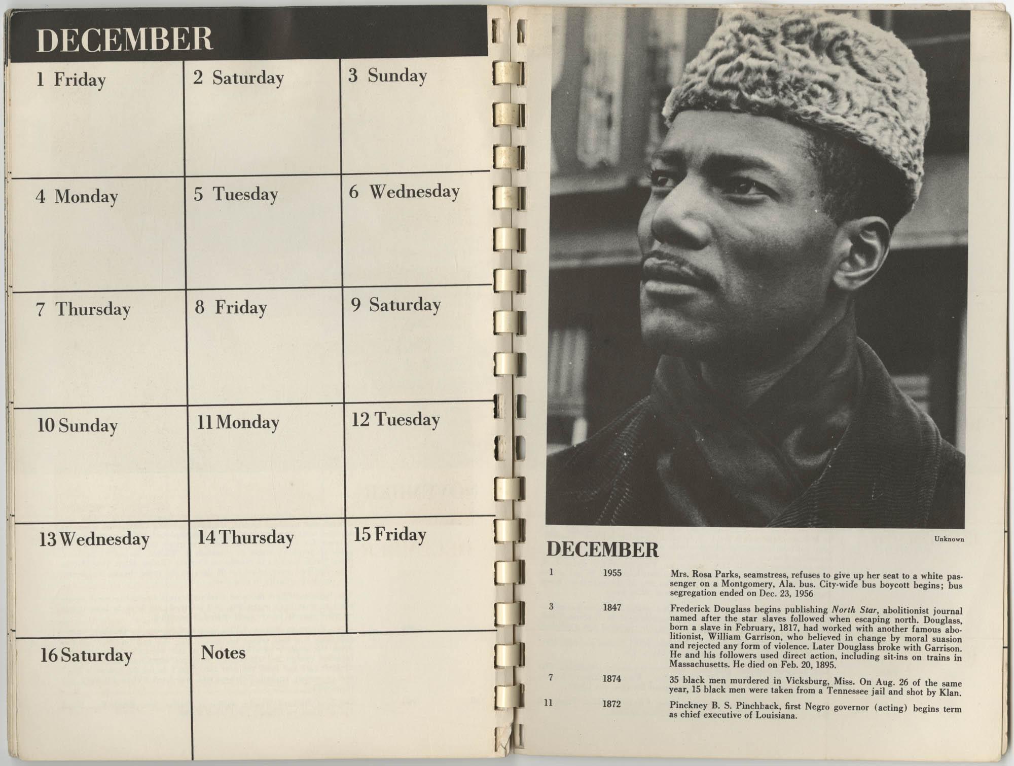 1967 SNCC Calendar, December 1-16