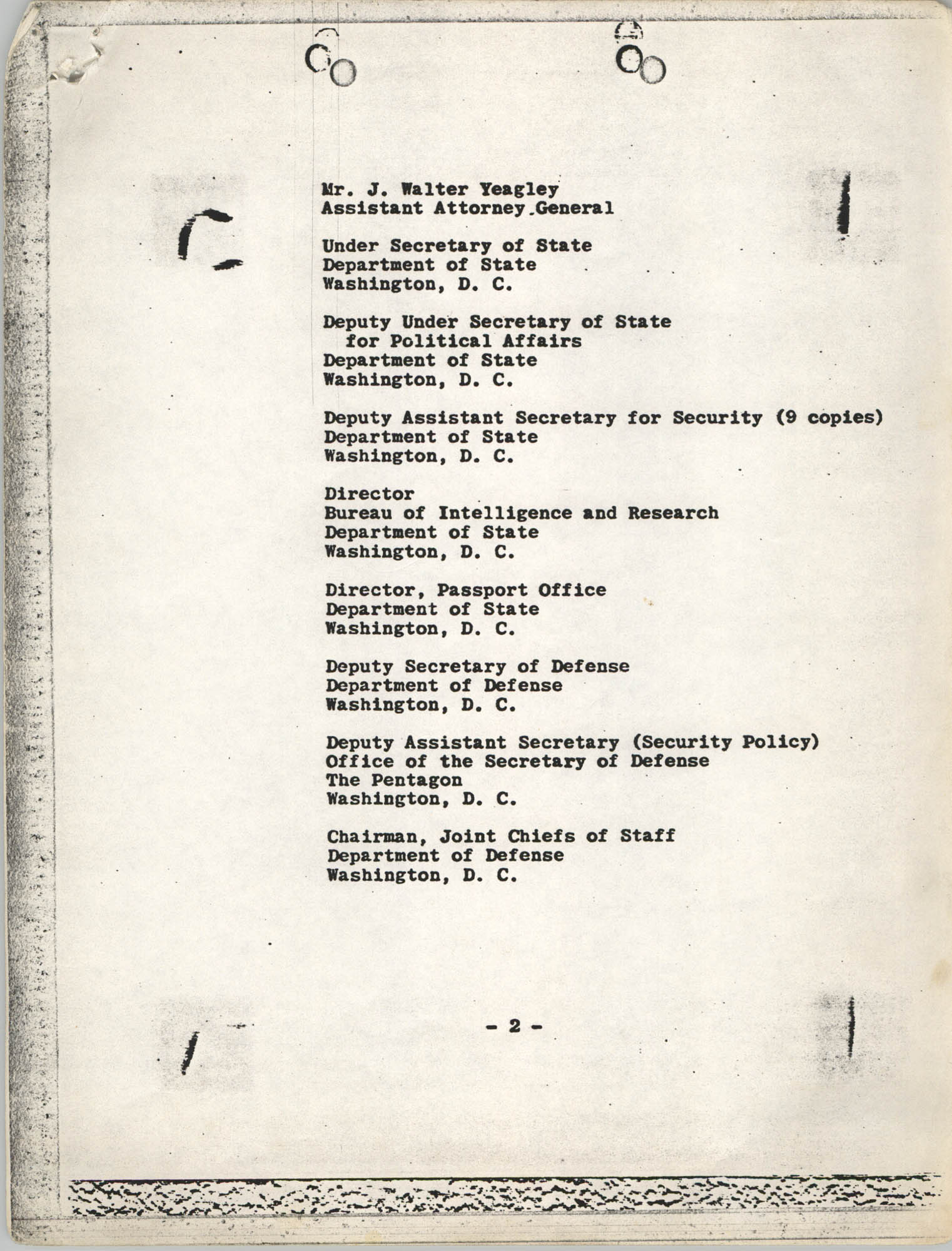 Student Nonviolent Coordinating Committee Lawsuit, Staff List Page 2