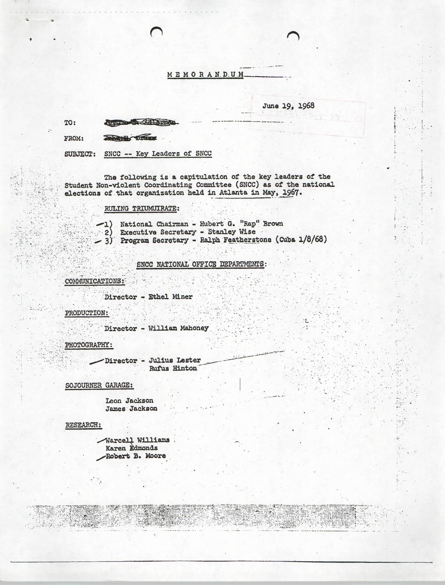 Memorandum Regarding Key Leaders of SNCC, Page 1