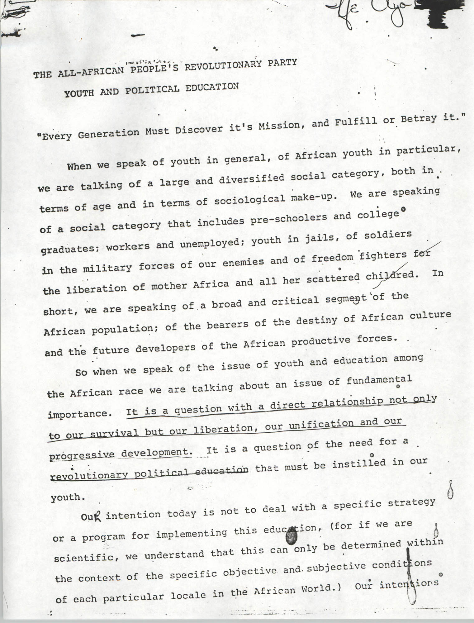 All-African People's Revolutionary Party: Youth and Political Education, Page 1