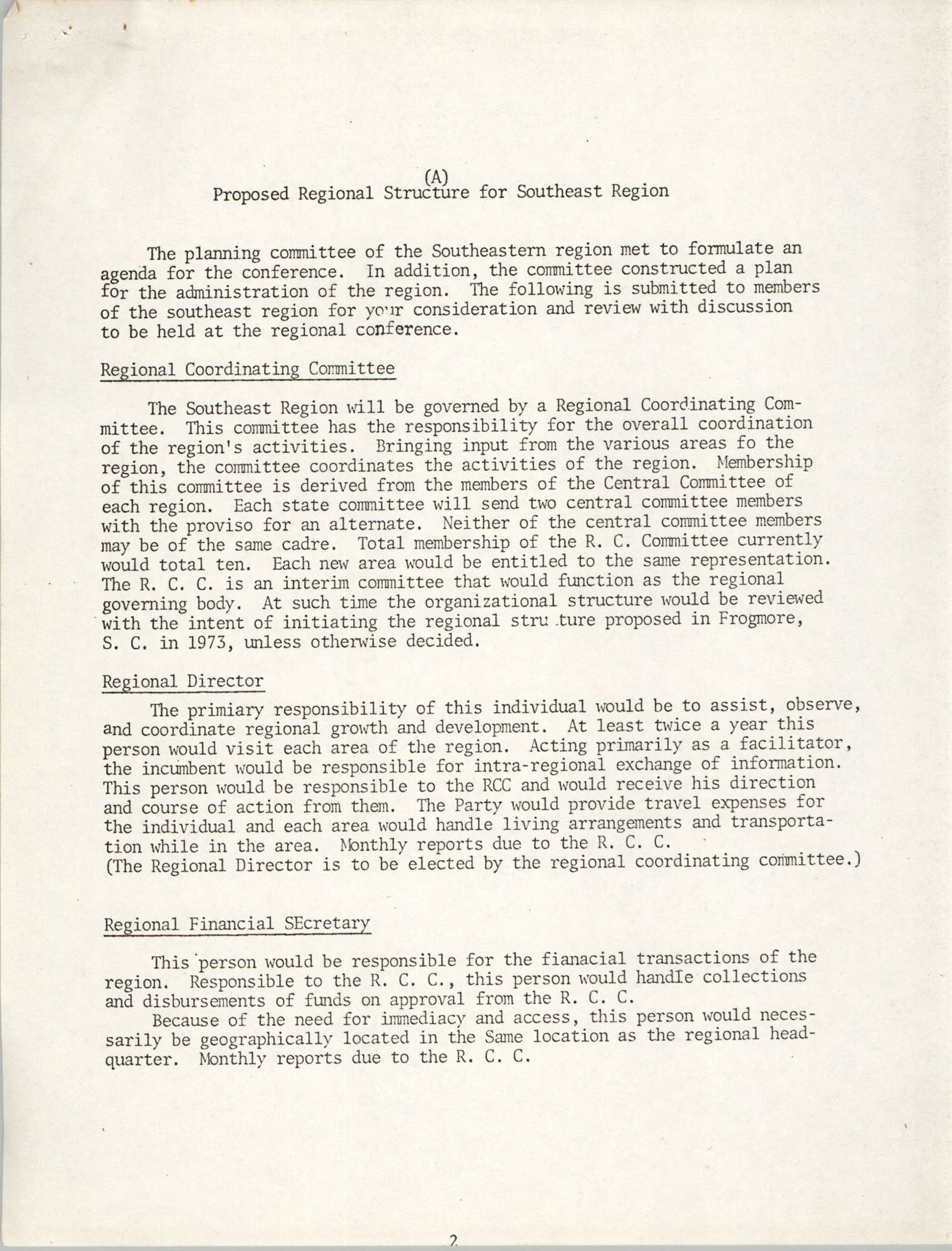 First Planning Committee Meeting, Southeastern Regional Planning Committee, Page A.1