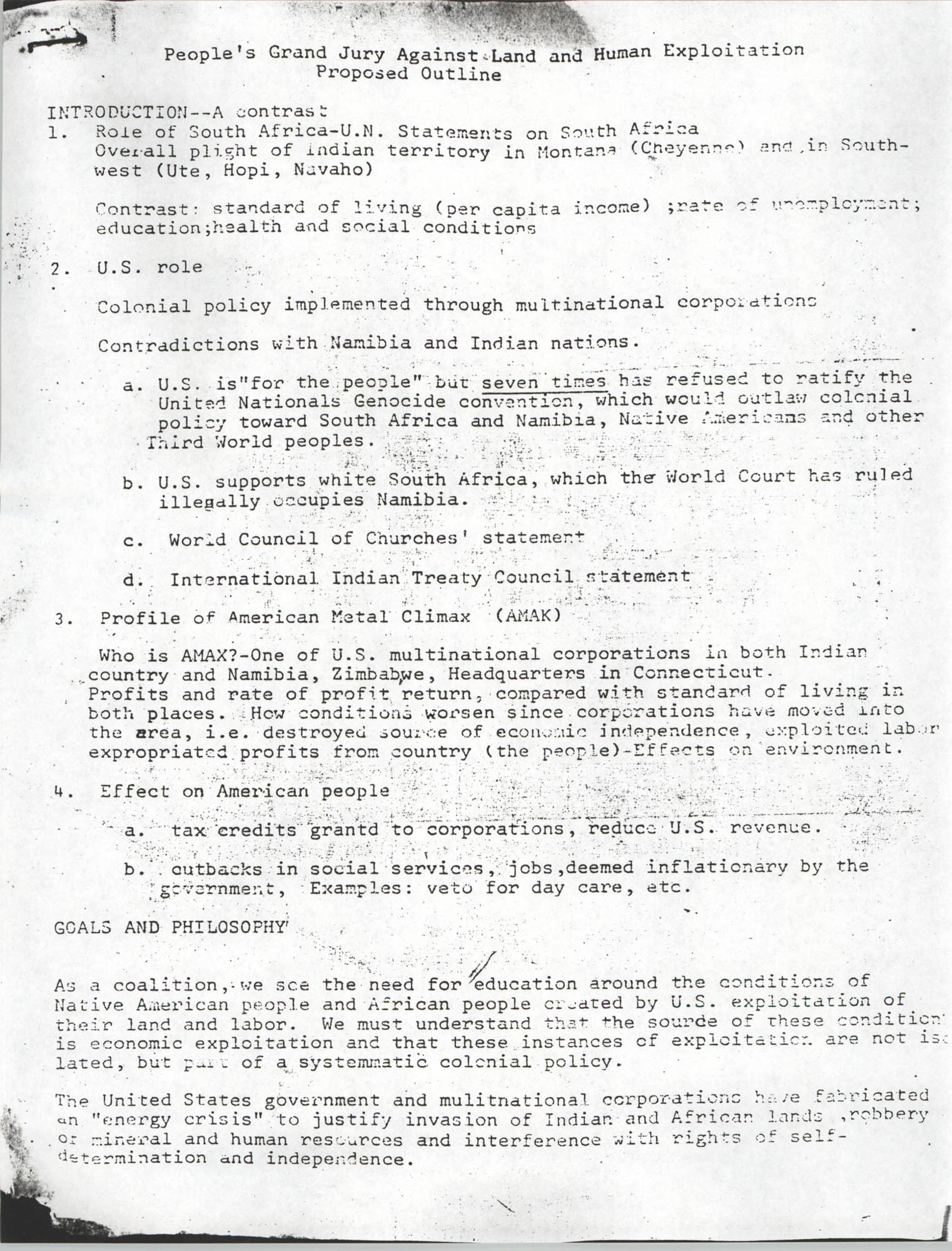 People's Grand Jury Against Land and Human Exploitation Proposed Outline, Page 1