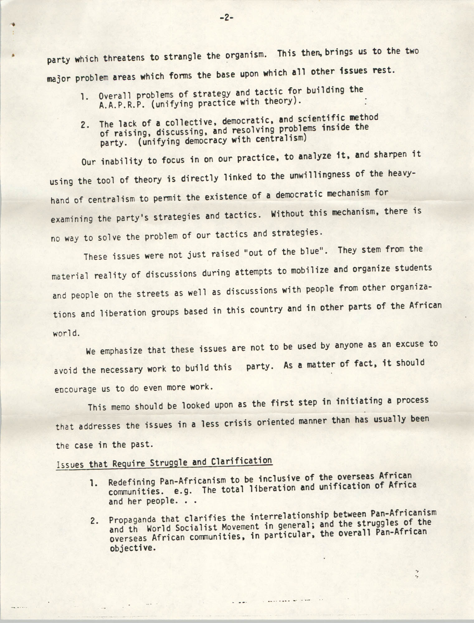 All African People's Revolutionary Party Memorandum, 1978, Page 2