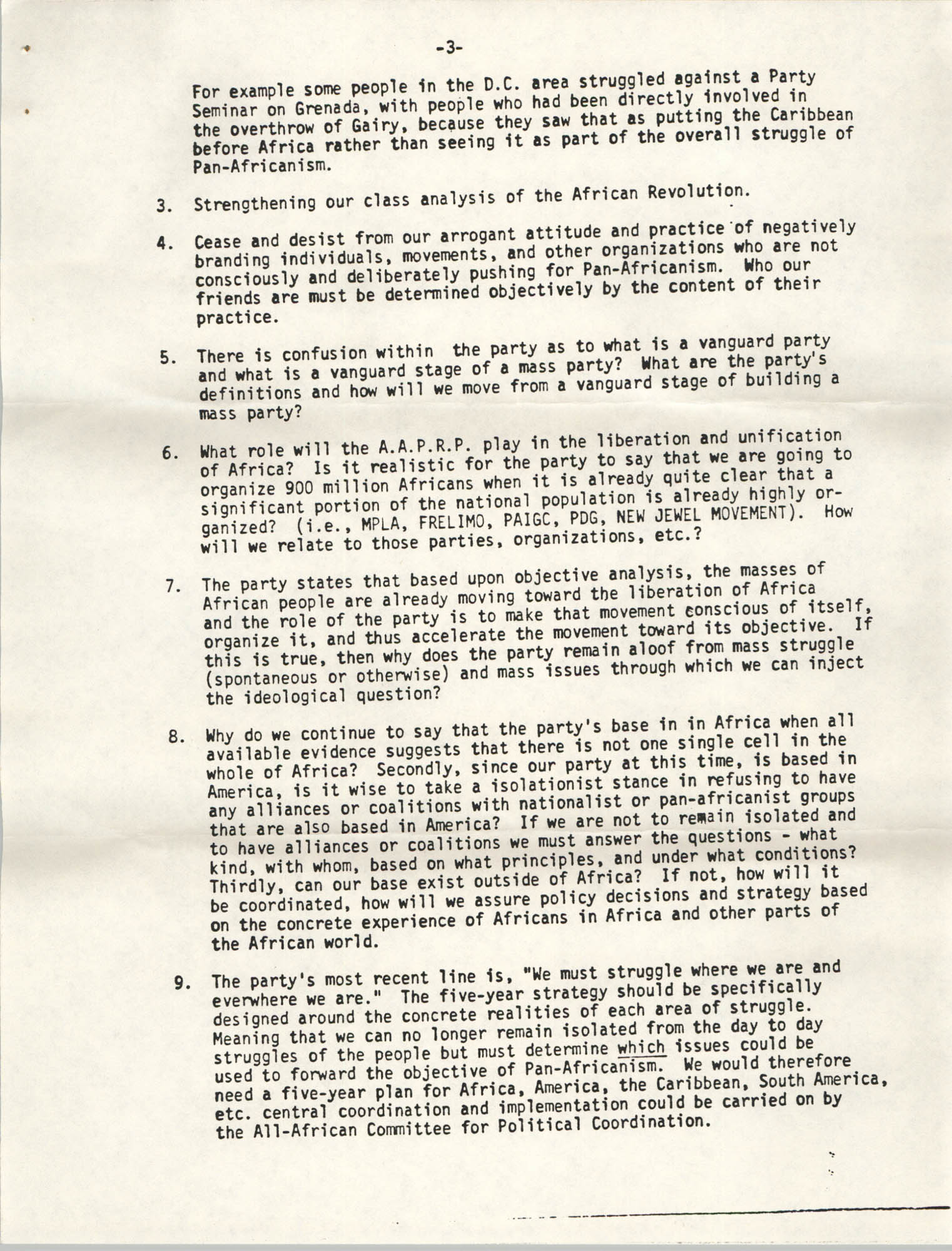 All African People's Revolutionary Party Memorandum, 1978, Page 3