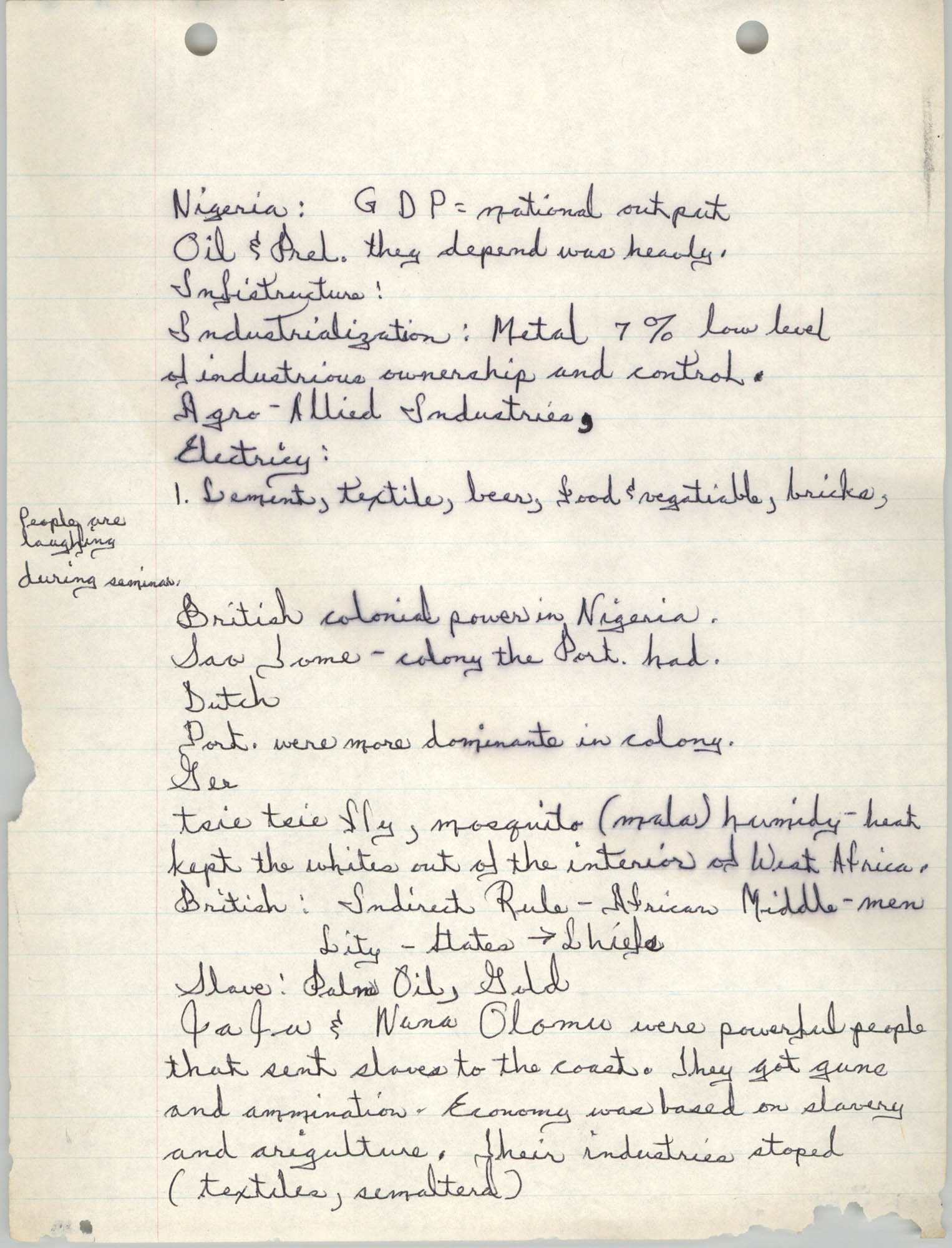 All African People's Revolutionary Party Handwritten Notes, Page 1
