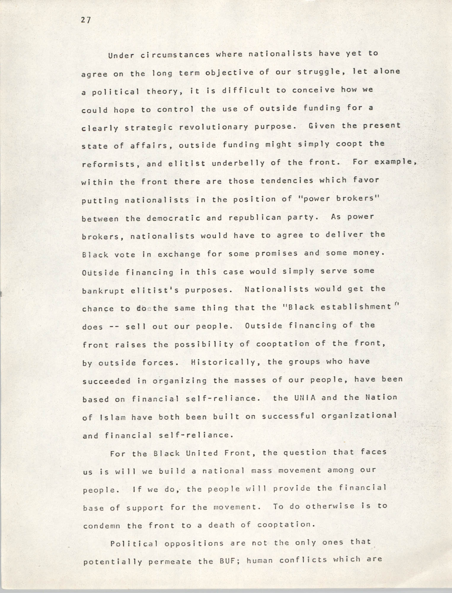 Pan-African Committee of the Black United Front, Page 27