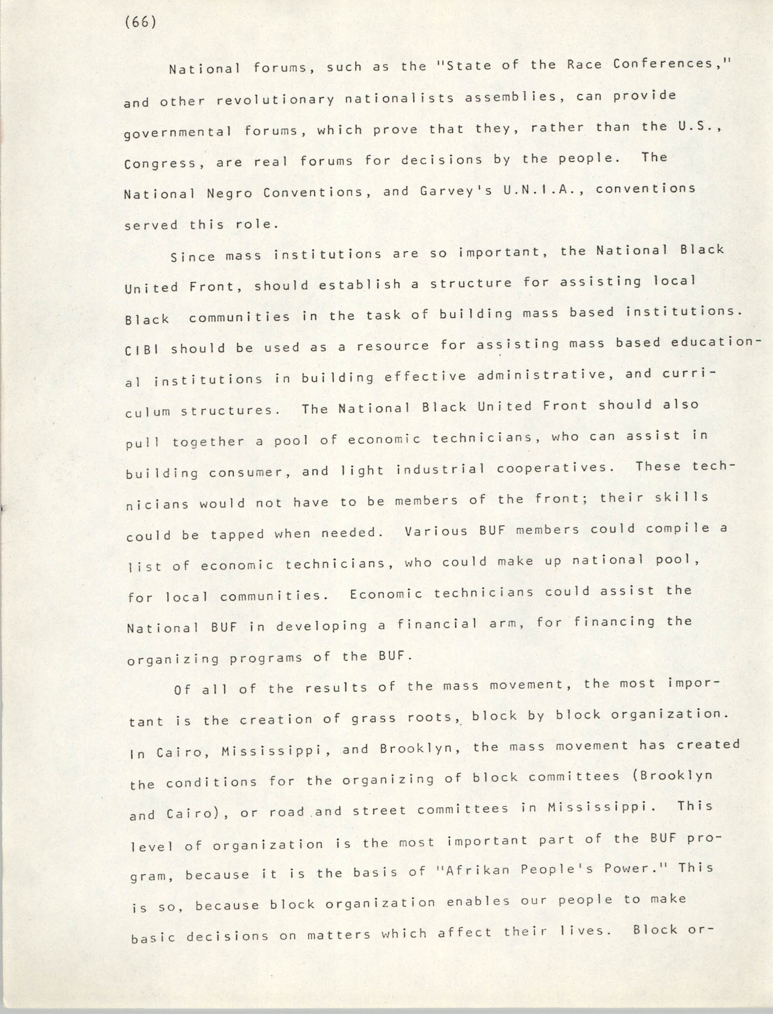 Pan-African Committee of the Black United Front, Page 66