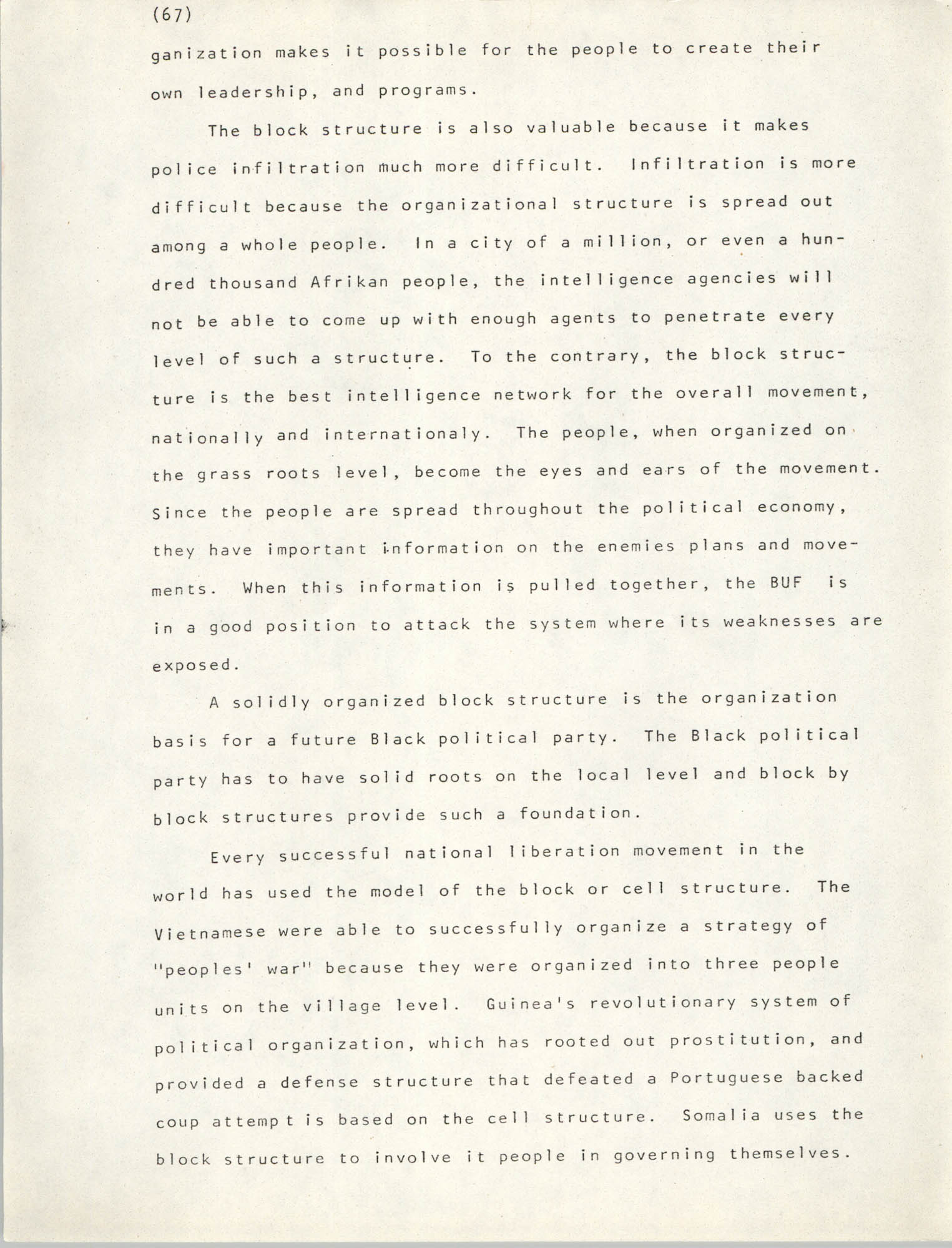 Pan-African Committee of the Black United Front, Page 67