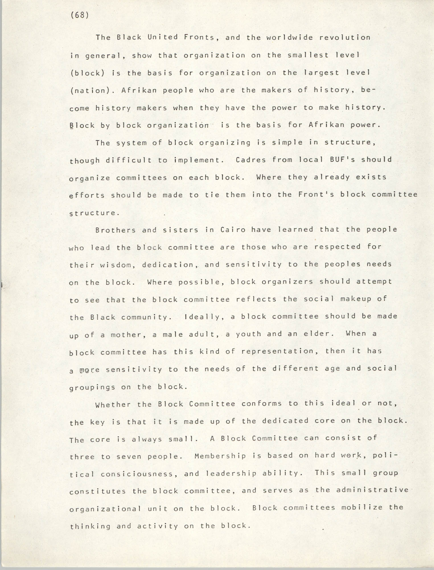 Pan-African Committee of the Black United Front, Page 68