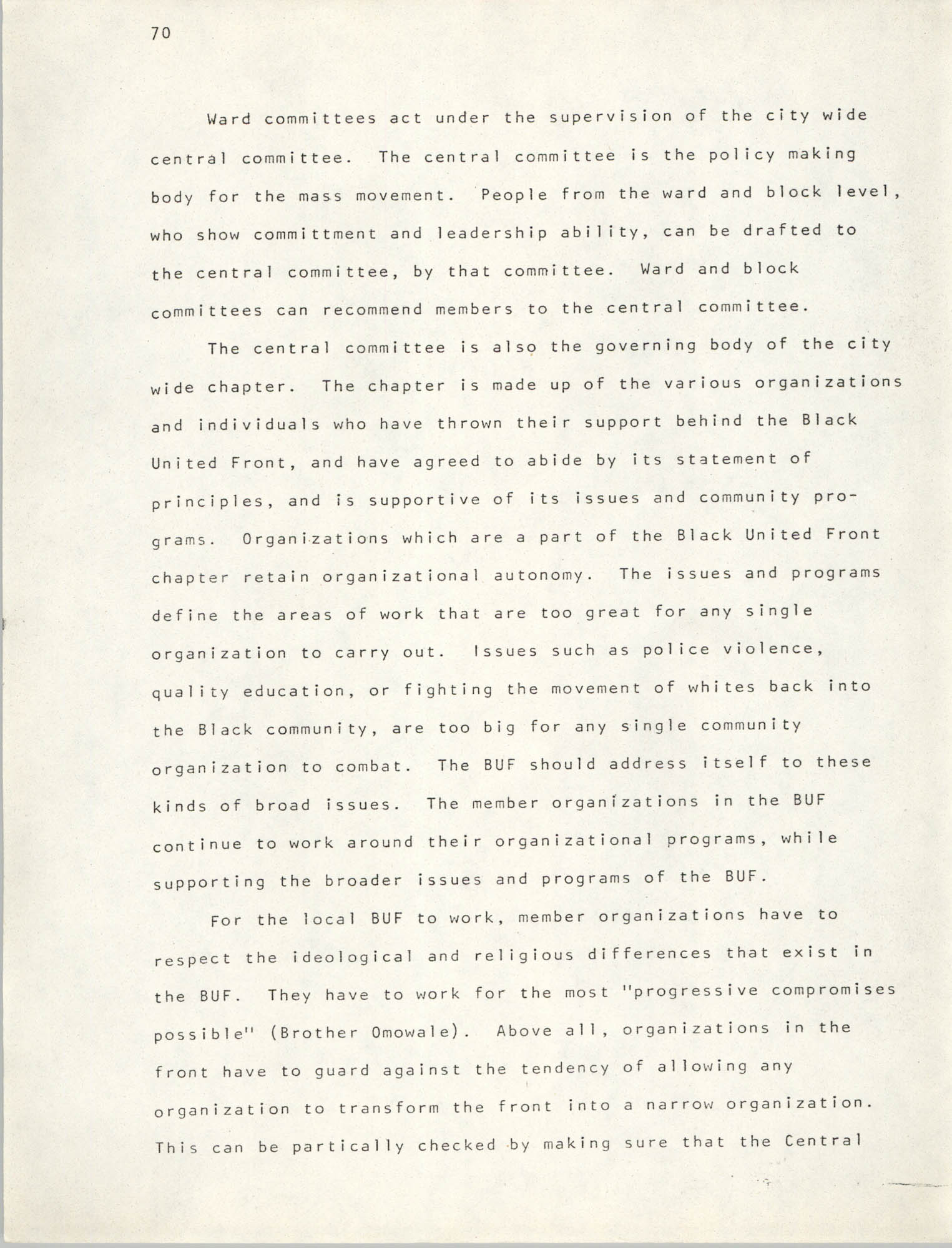 Pan-African Committee of the Black United Front, Page 70