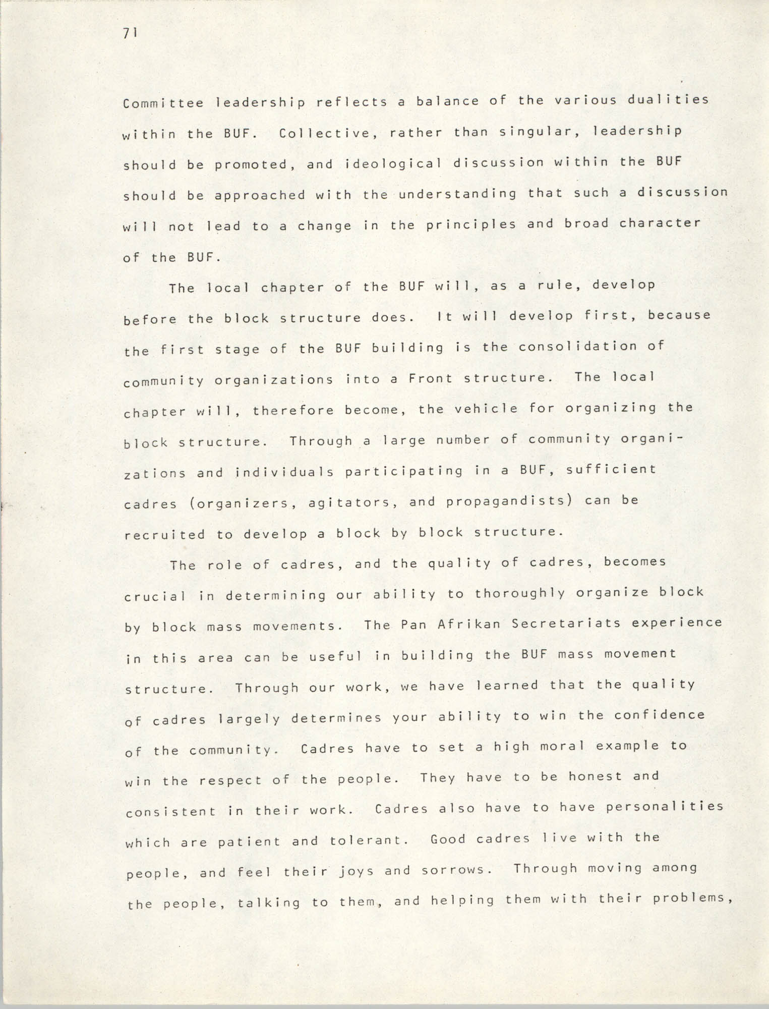 Pan-African Committee of the Black United Front, Page 71