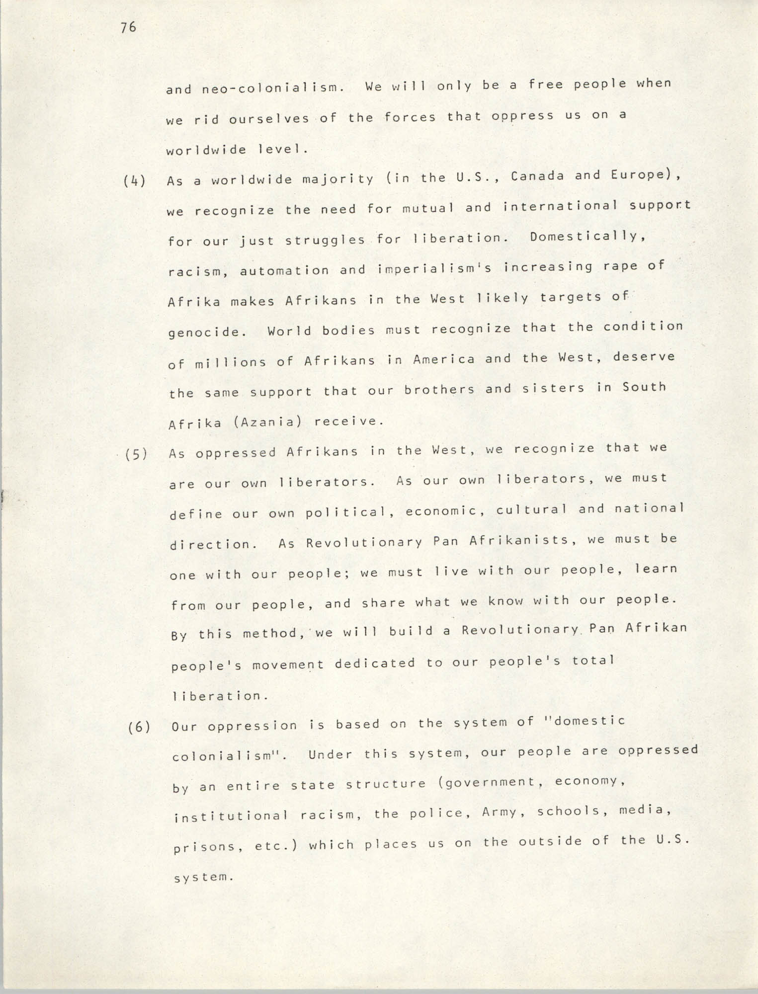 Pan-African Committee of the Black United Front, Page 76