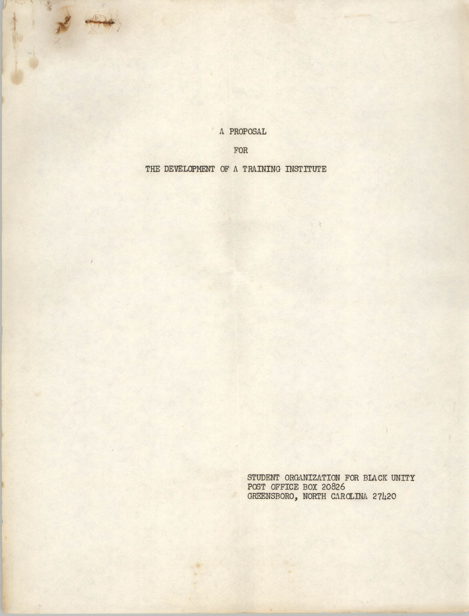 A Proposal for the Development of a Training Institute, Title Page