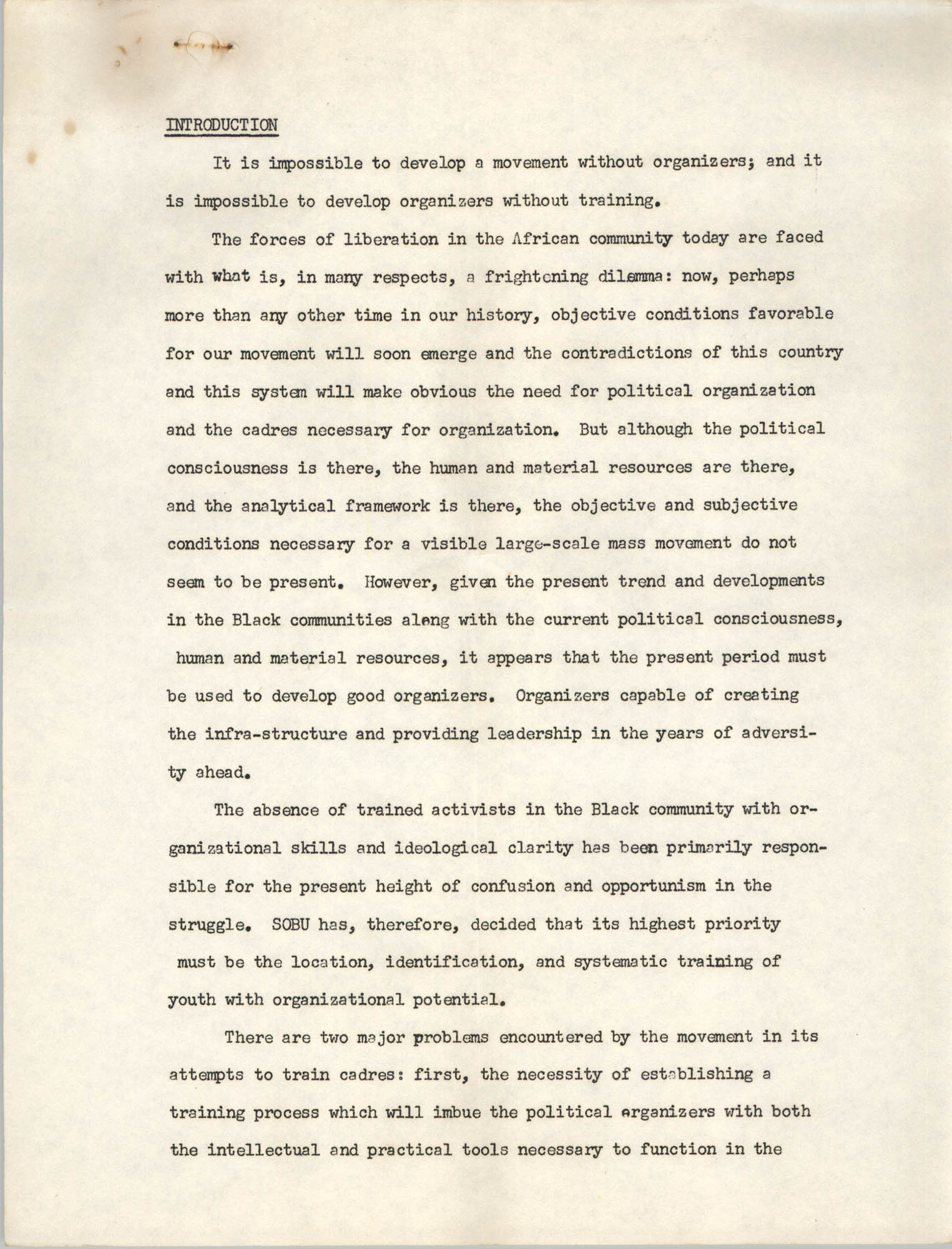 A Proposal for the Development of a Training Institute, Introduction Page 1