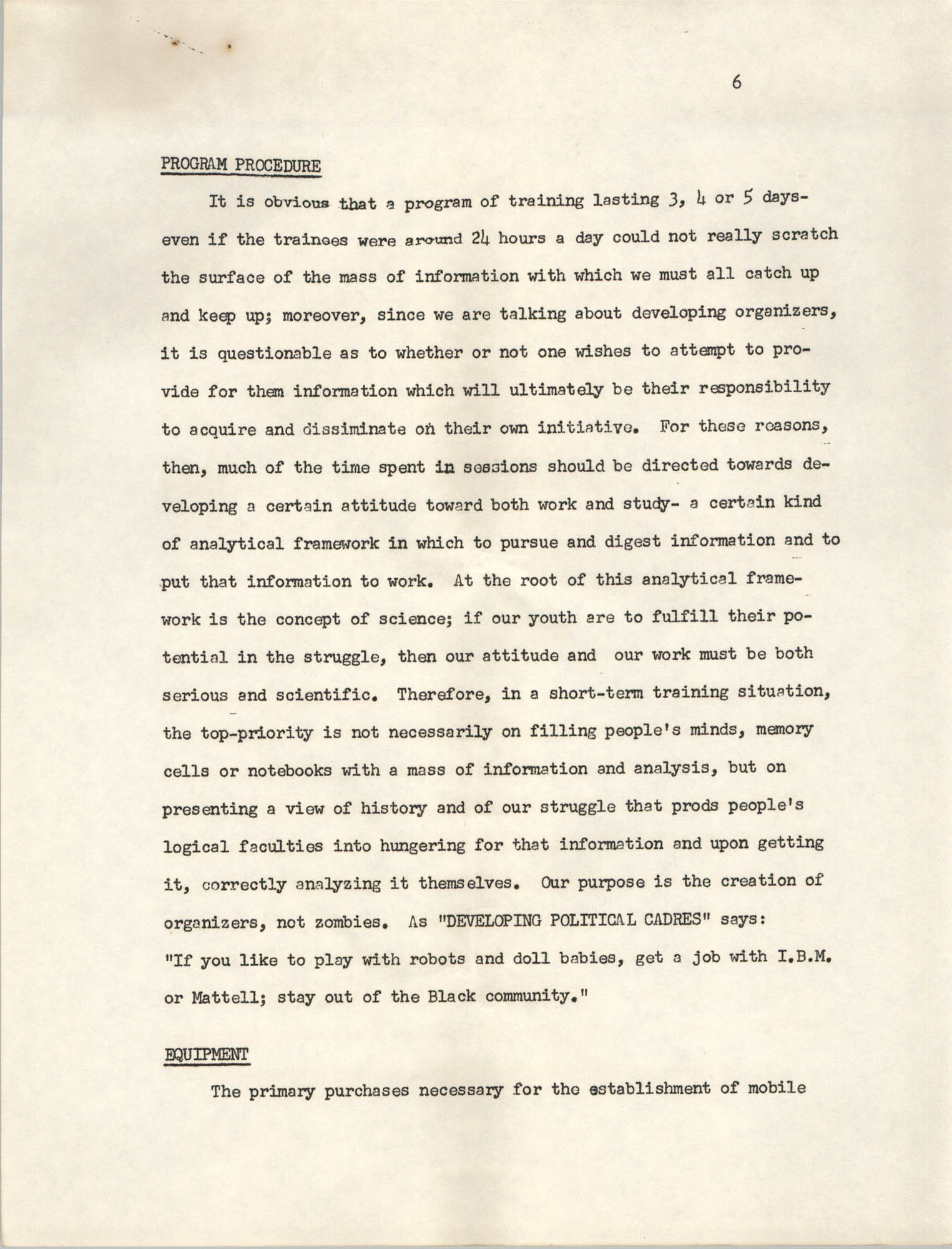 A Proposal for the Development of a Training Institute, Page 6