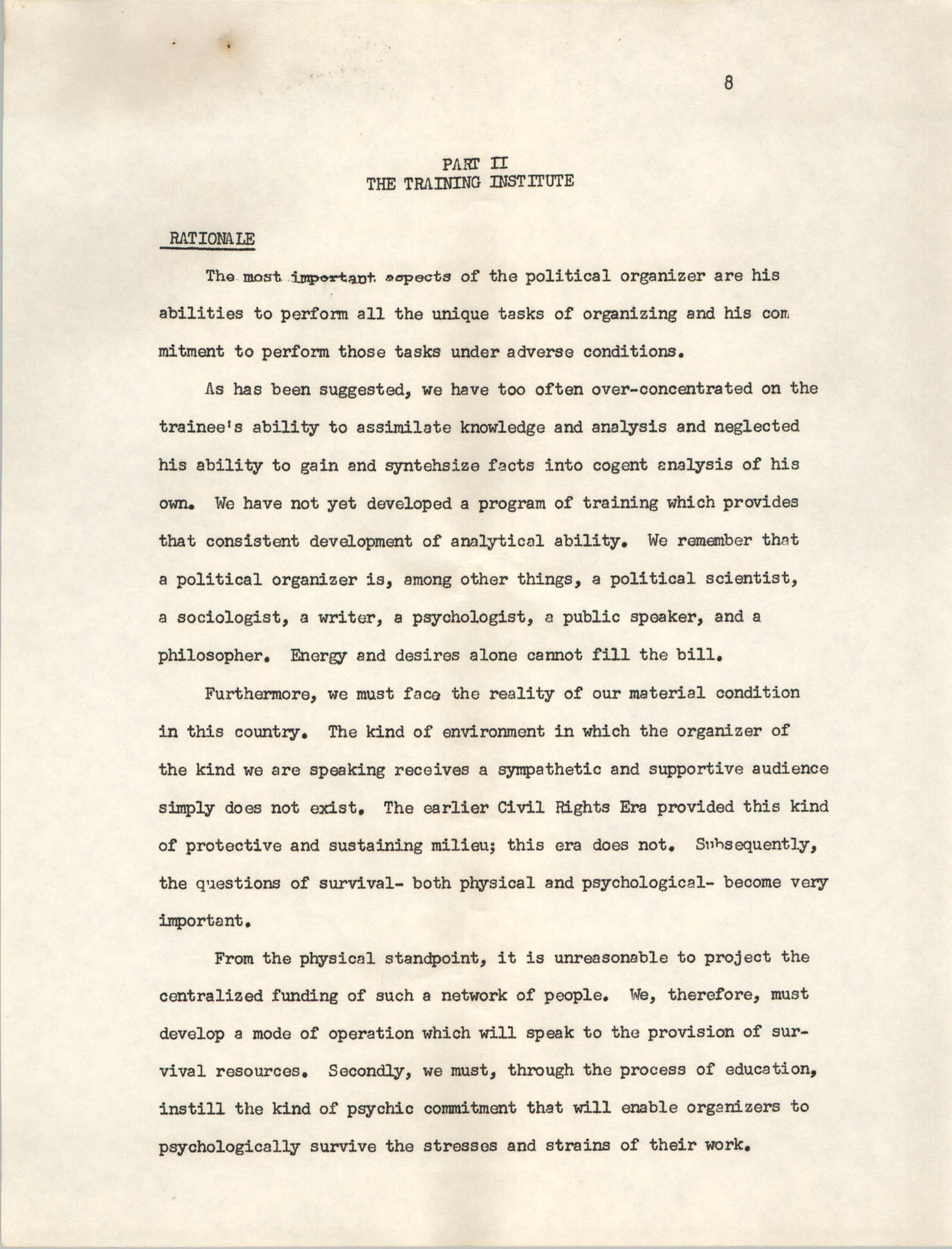 A Proposal for the Development of a Training Institute, Page 8