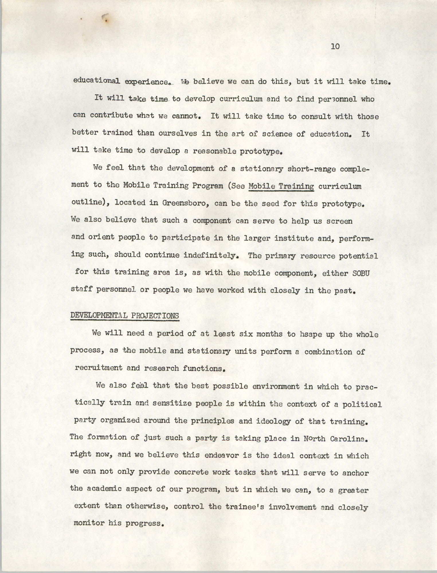 A Proposal for the Development of a Training Institute, Page 10