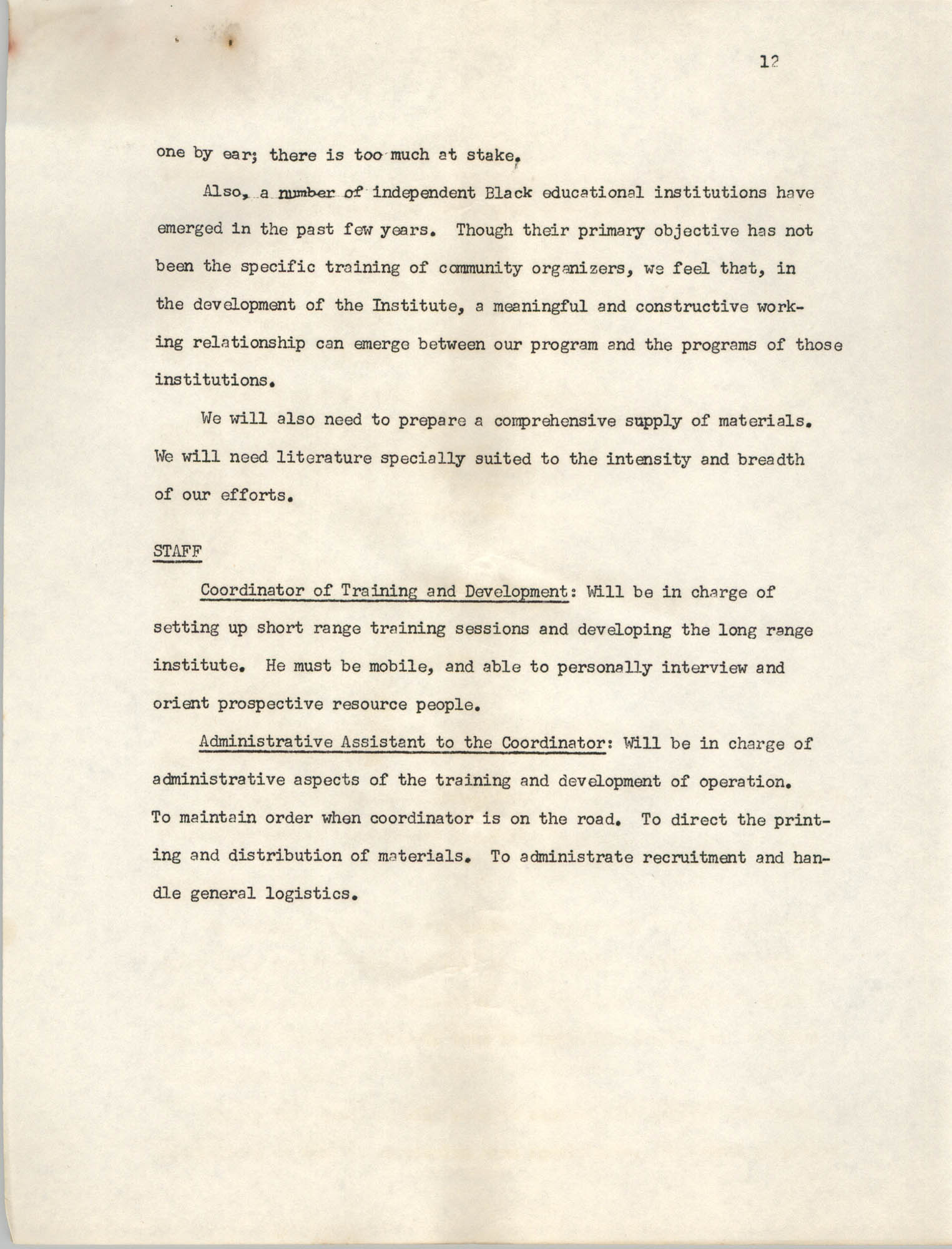 A Proposal for the Development of a Training Institute, Page 12