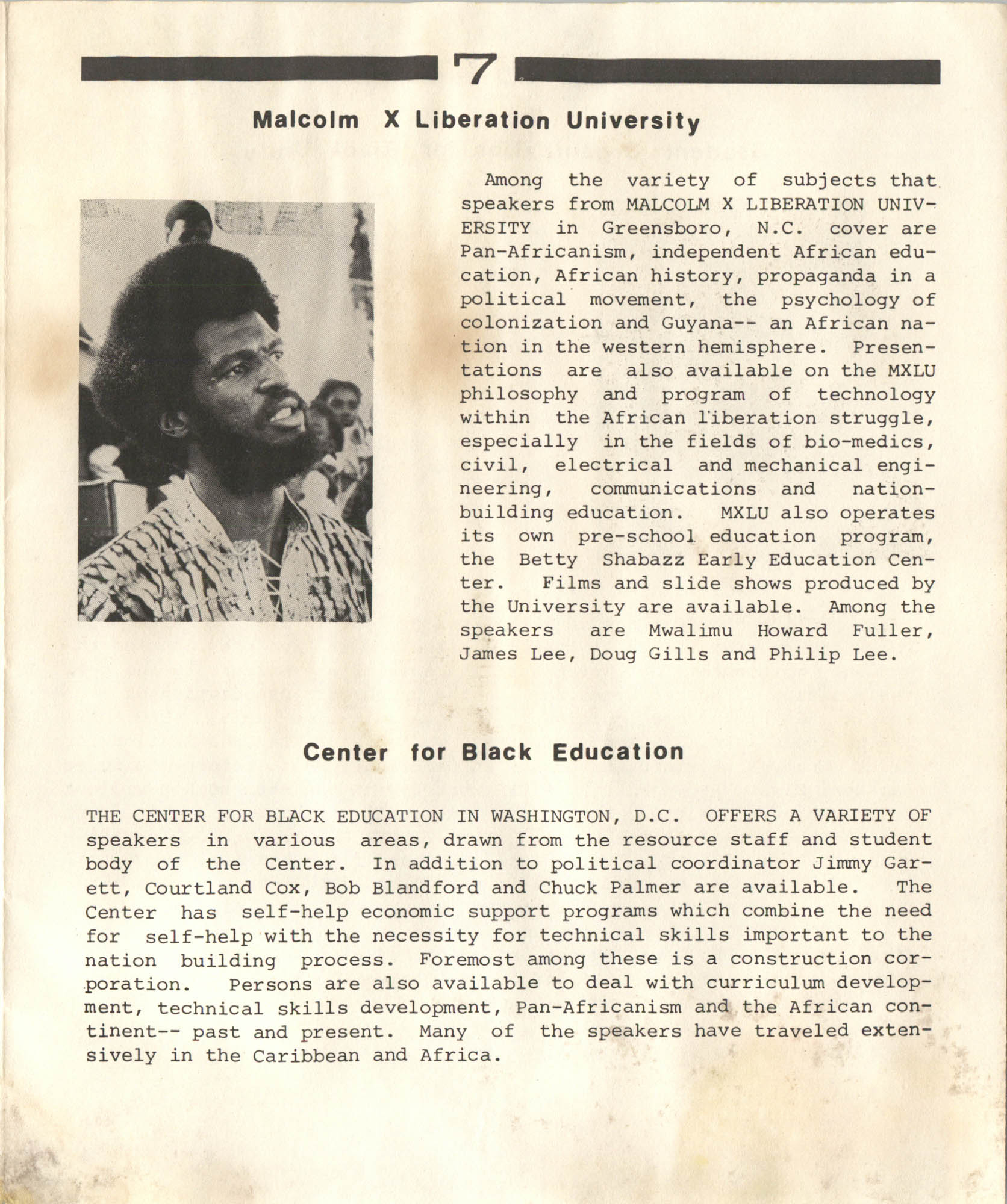Student Organization for Black Unity Speakers Bureau, Page 7