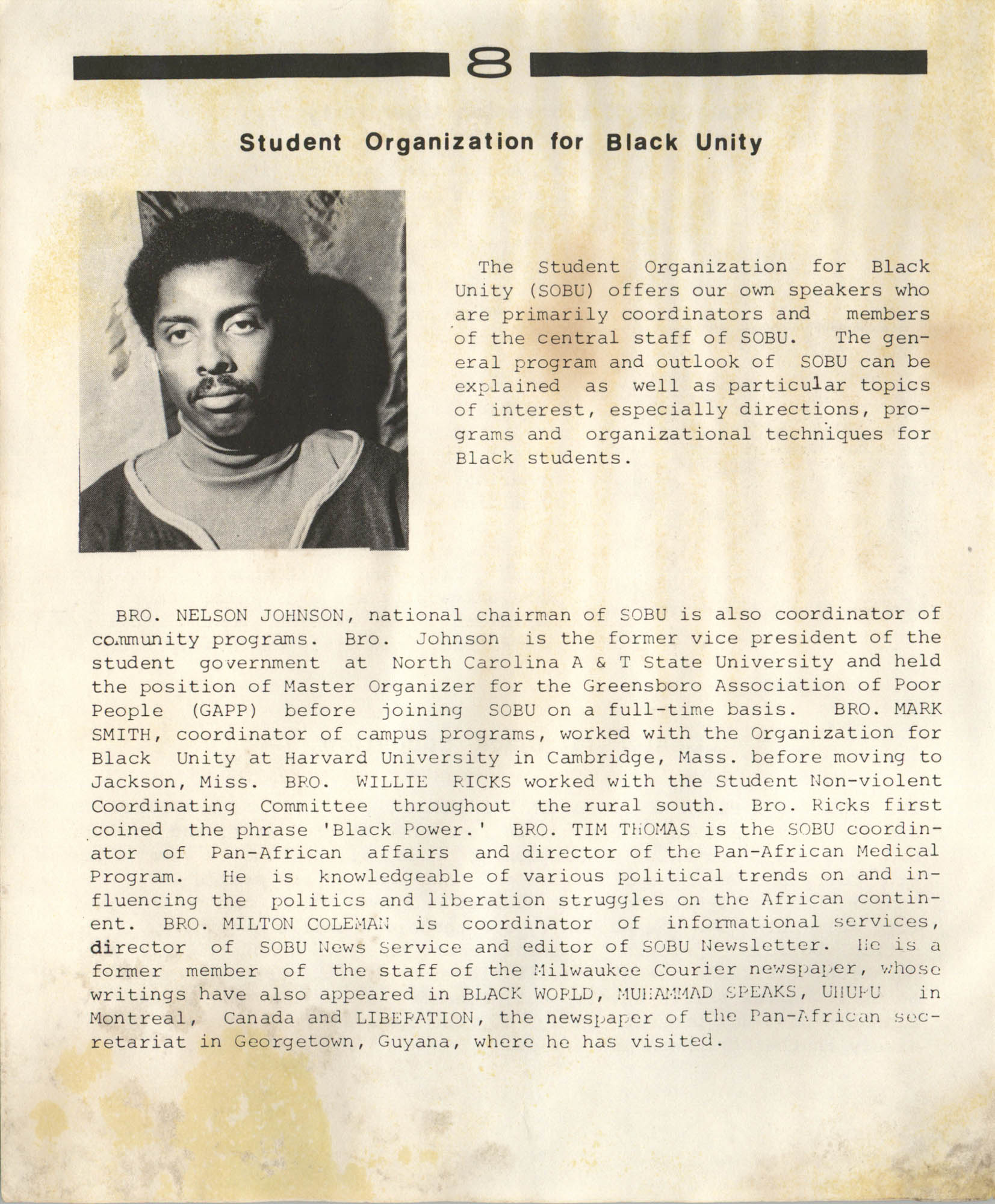 Student Organization for Black Unity Speakers Bureau, Page 8