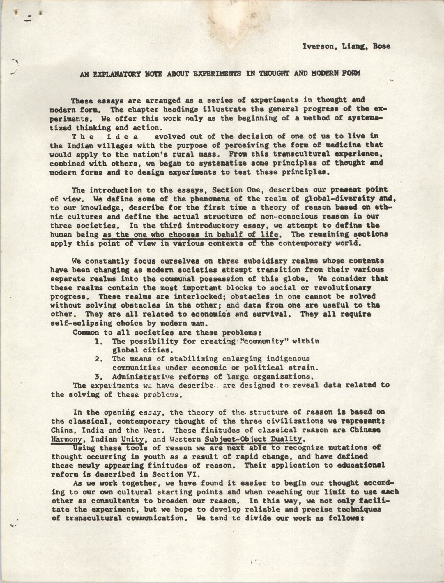 An Explanatory Note About Experiments in Thought and Modern Form, Page 1